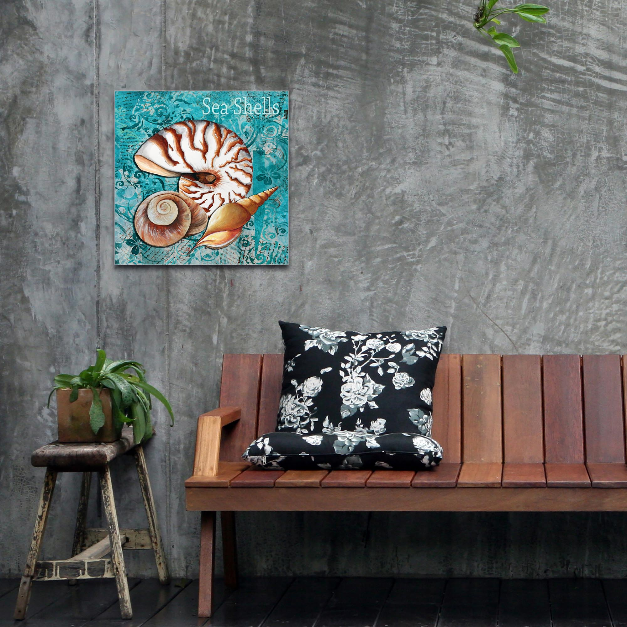 Beach Decor 'Sea Shells' - Coastal Bathroom Art on Metal or Acrylic - Lifestyle View 2