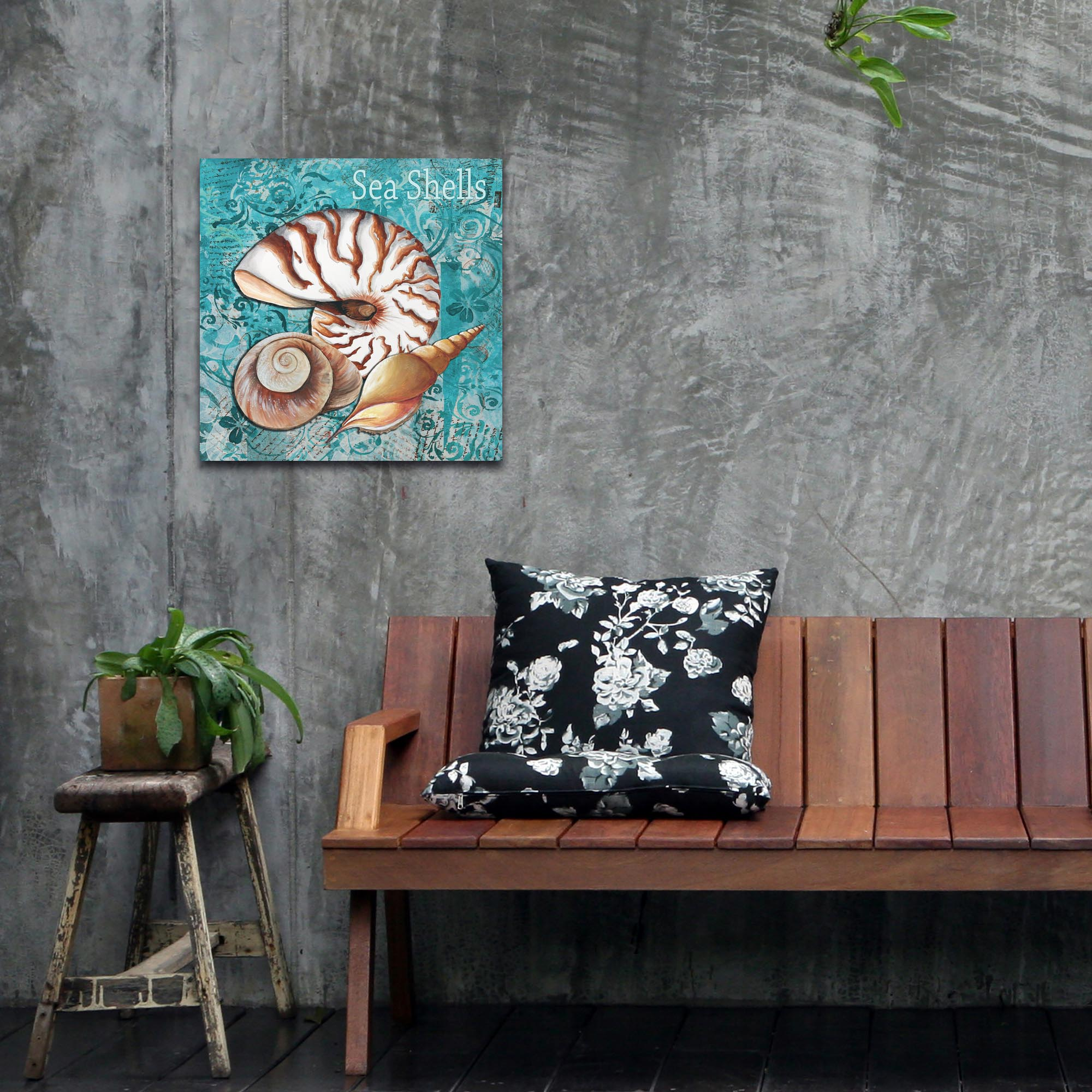 Beach Decor 'Sea Shells' - Coastal Bathroom Art on Metal or Acrylic - Lifestyle View