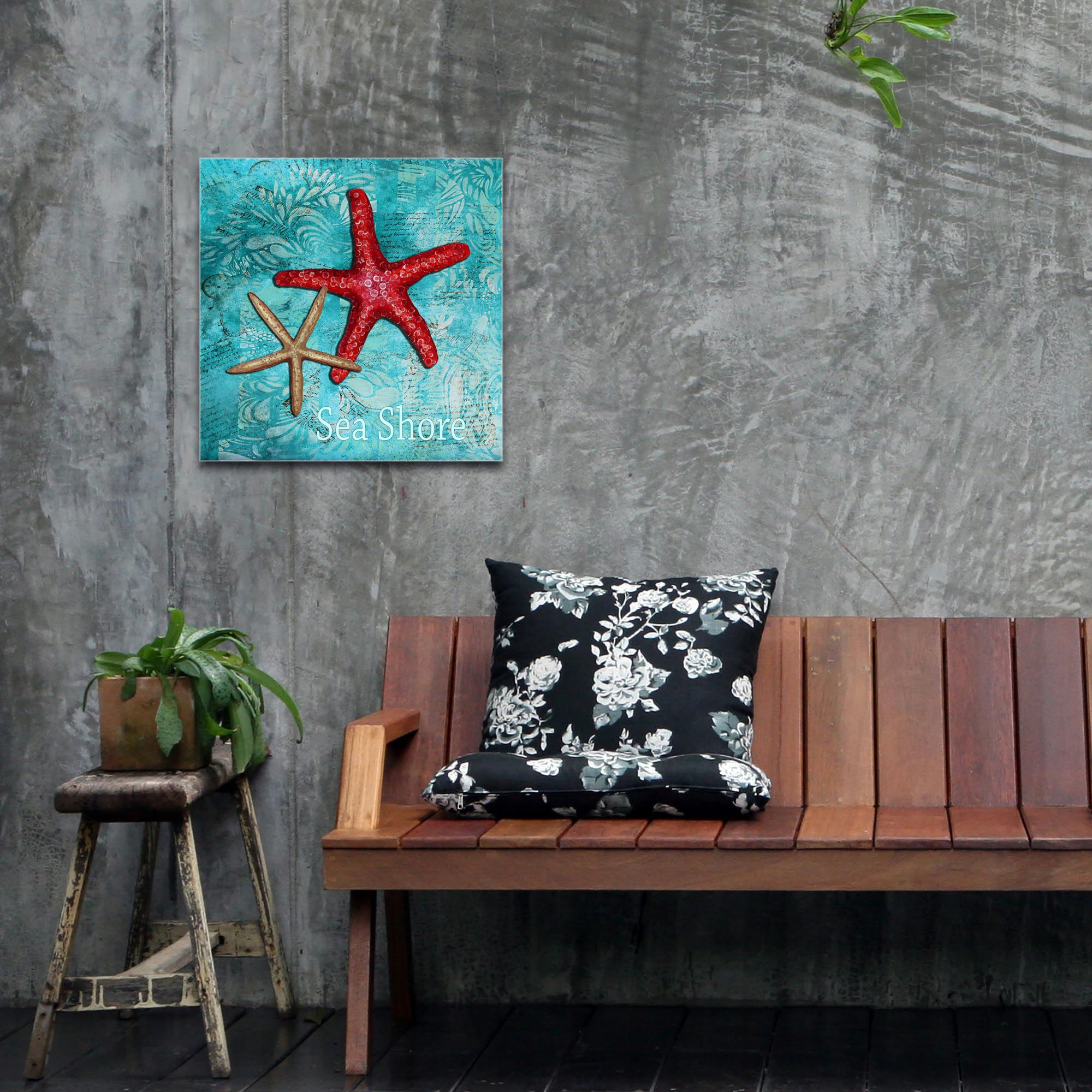 Starfish Wall Art 'Sea Shore' - Coastal Decor on Metal or Acrylic - Lifestyle View 2