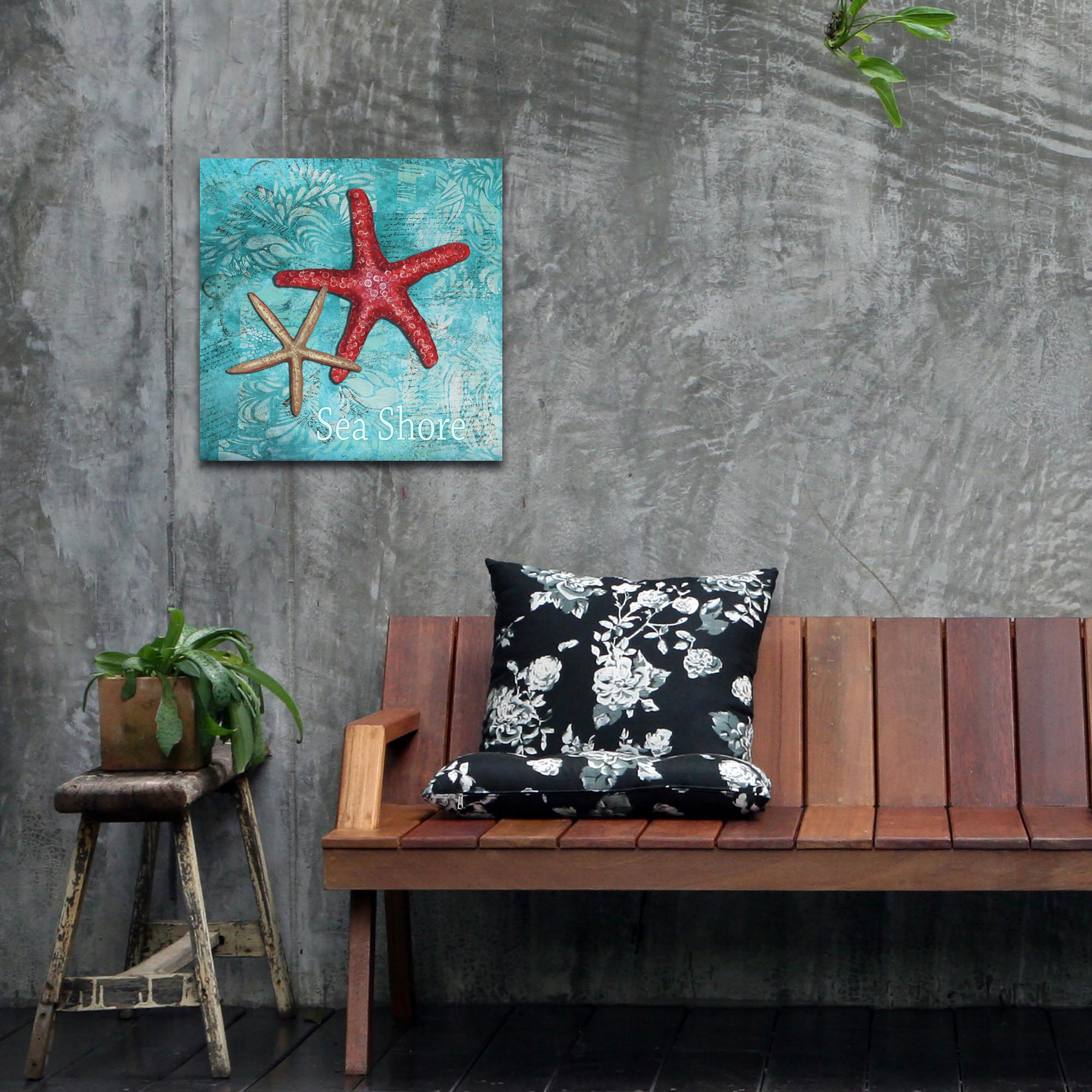 Starfish Wall Art 'Sea Shore' - Coastal Decor on Metal or Acrylic - Lifestyle View
