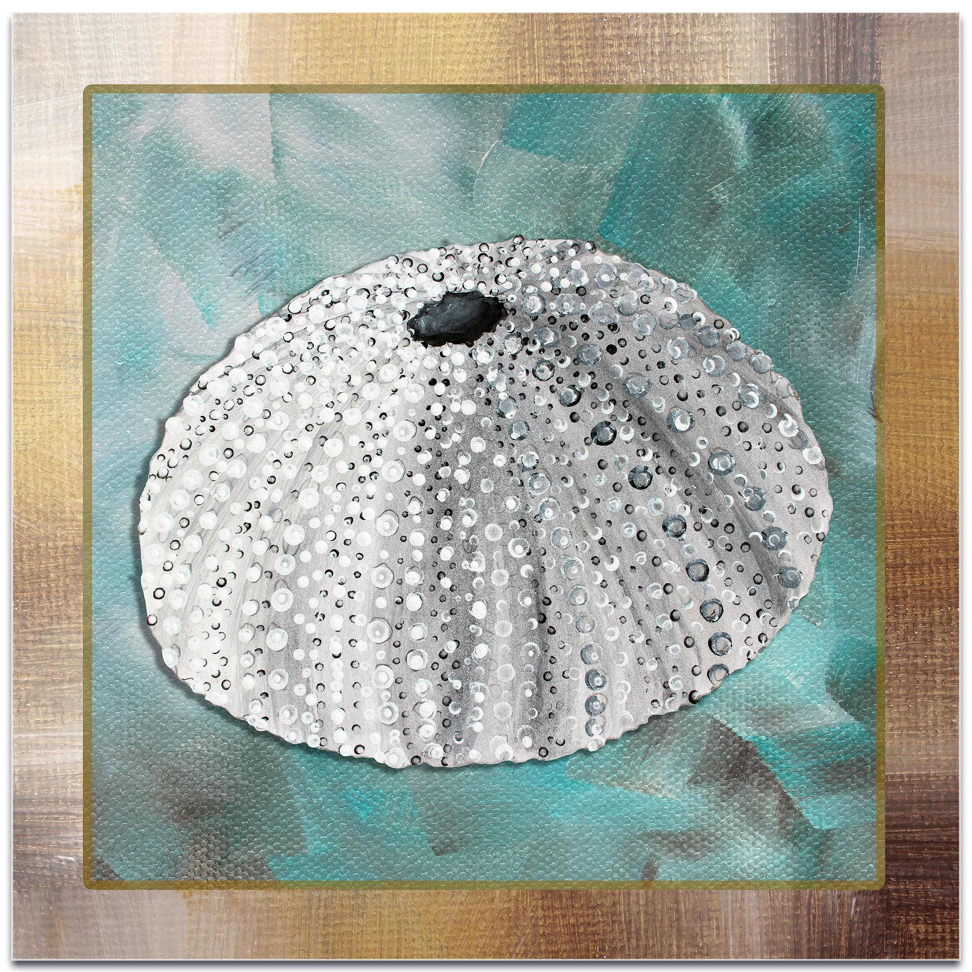 Beach Decor 'Silver Lining Sea Urchin' - Coastal Bathroom Art on Metal or Acrylic - Image 2