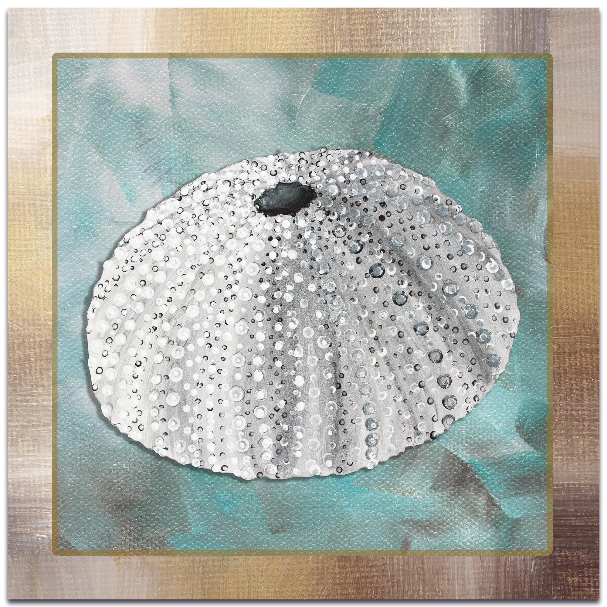 Beach Decor 'Silver Lining Sea Urchin' - Coastal Bathroom Art on Metal or Acrylic