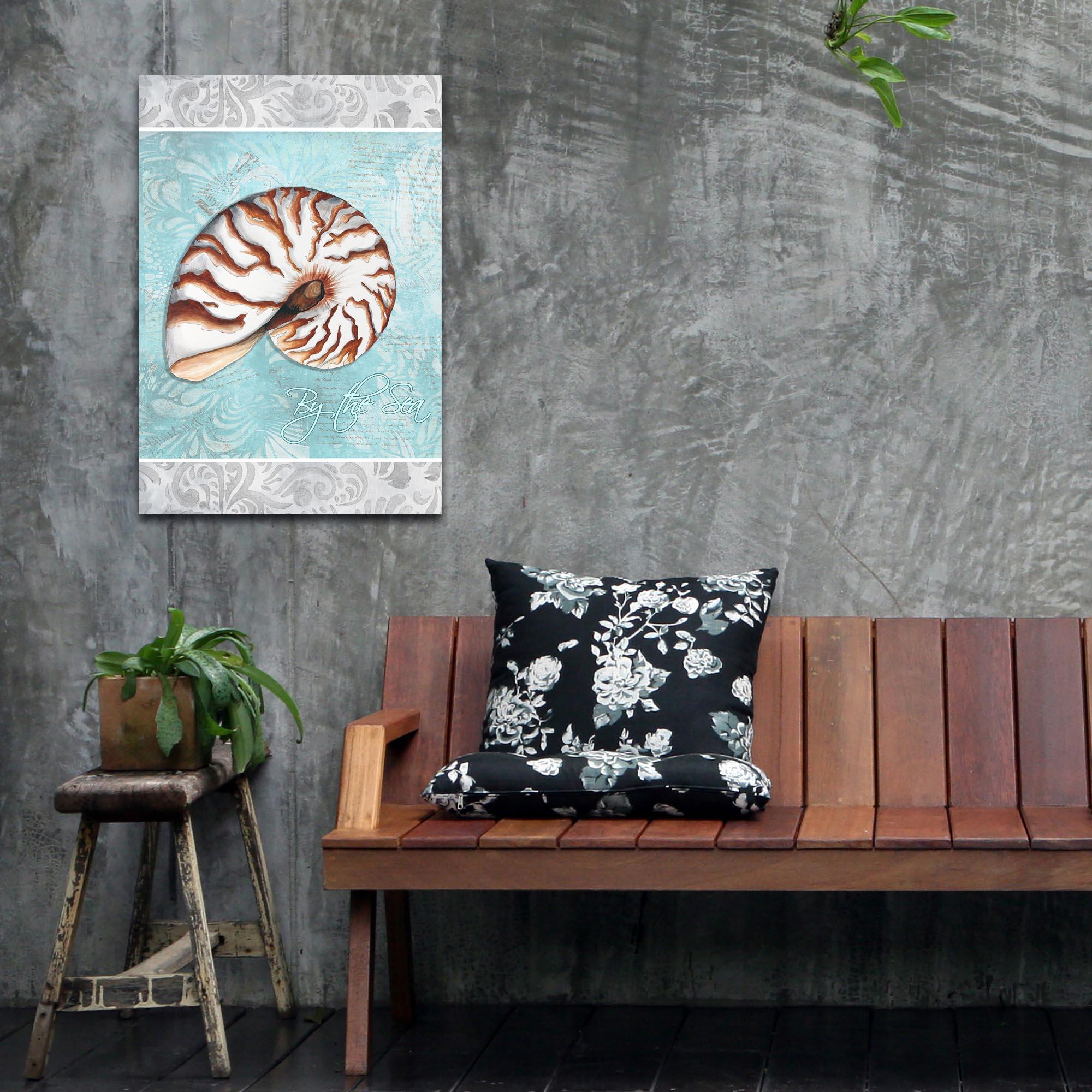 Beach Decor 'By the Sea v1' - Coastal Bathroom Art on Metal or Acrylic - Lifestyle View