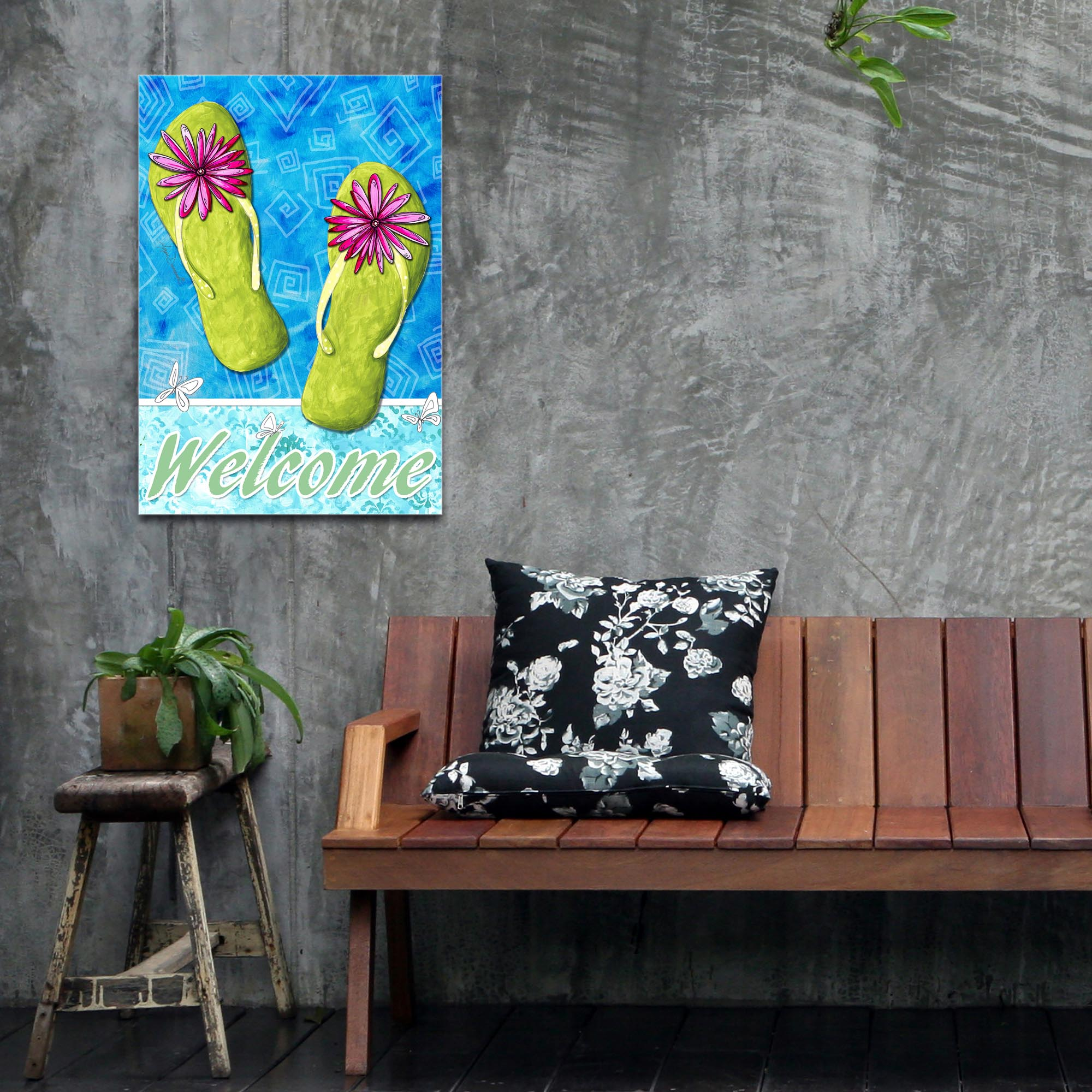 Contemporary Beach Decor 'Pink and Green Flip Flops' - Coastal Bathroom Art on Metal or Acrylic - Lifestyle View 2