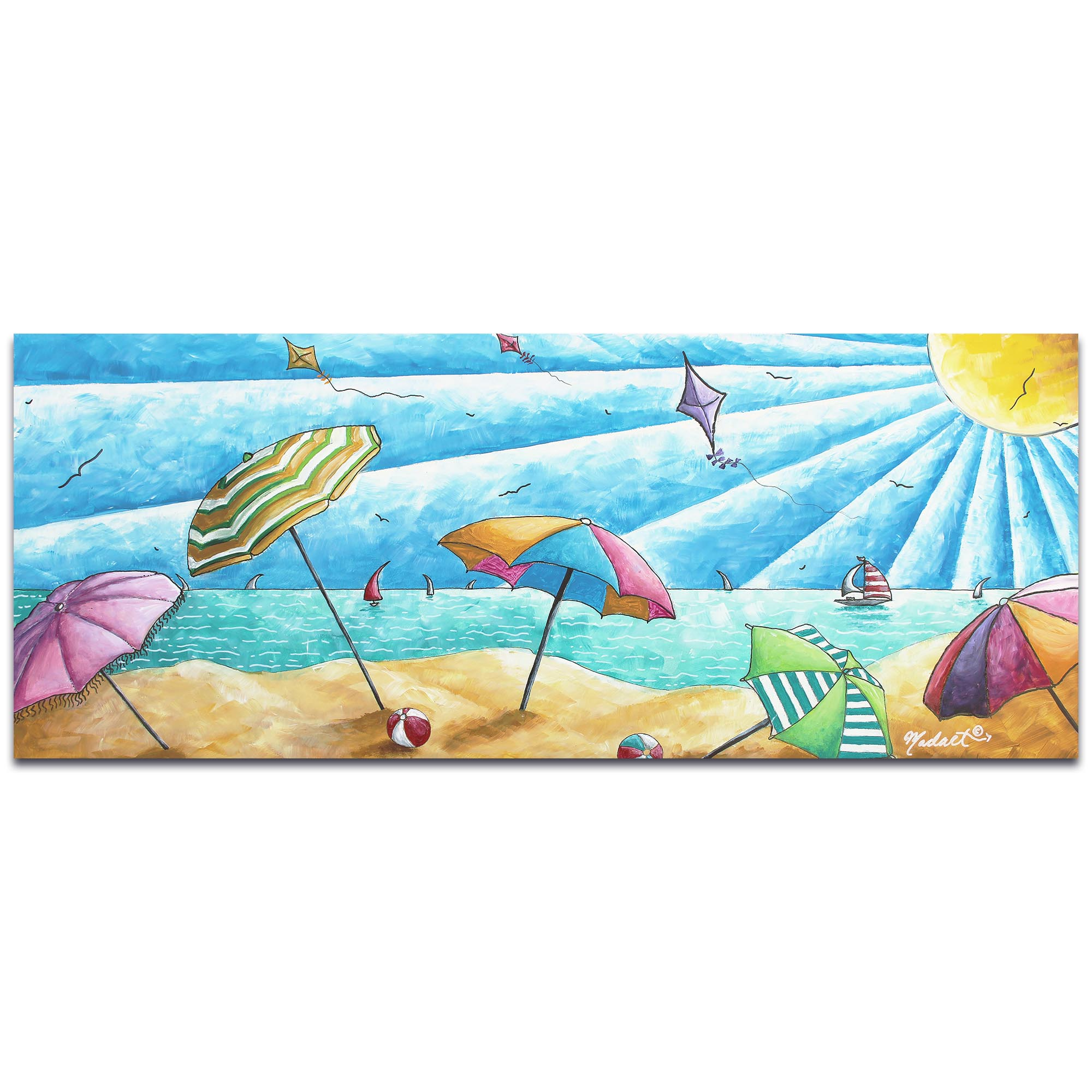Beach Painting 'Beach Life v2' - Tropical Wall Art on Metal or Acrylic
