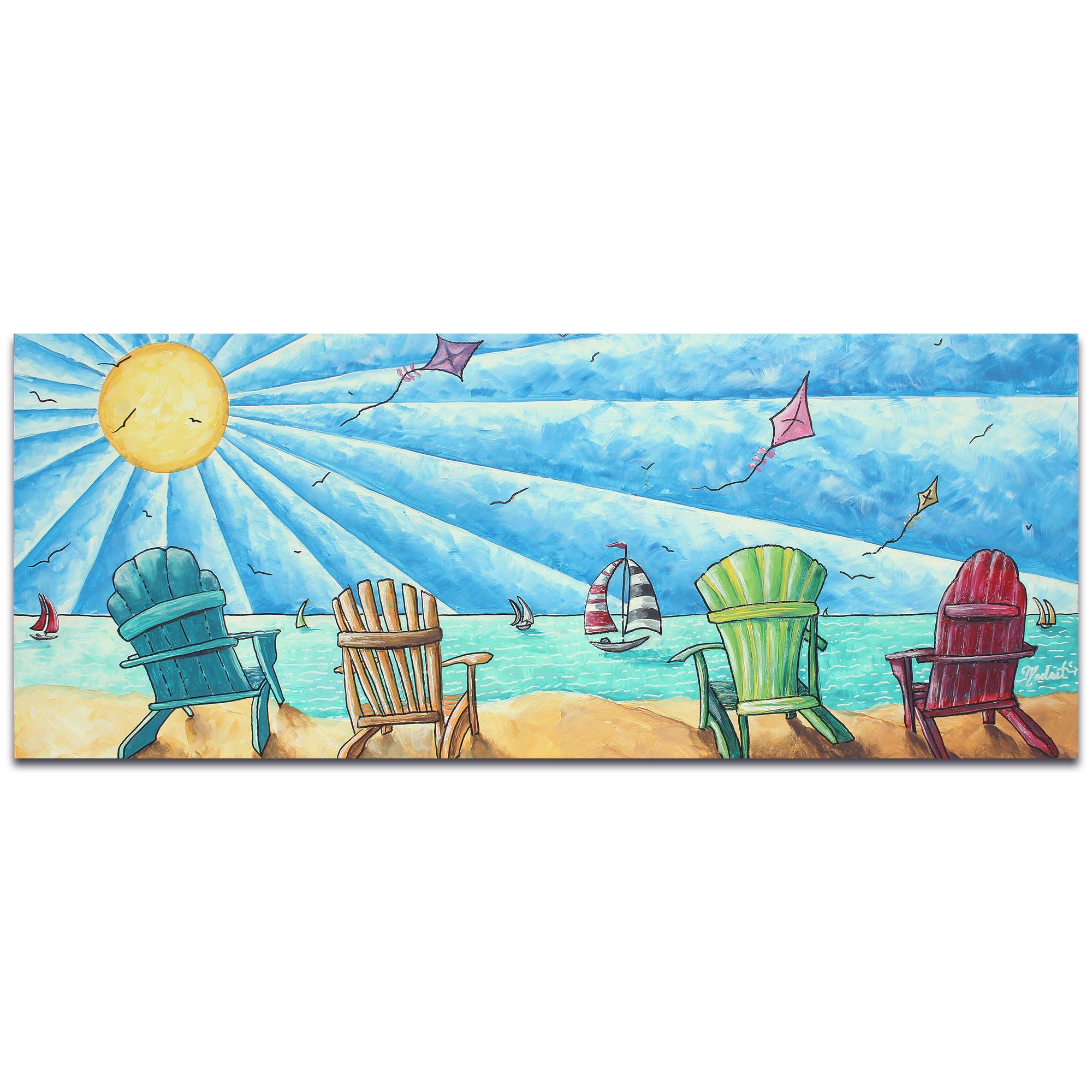 Beach Painting 'Beach Life v1' - Tropical Wall Art on Metal or Acrylic