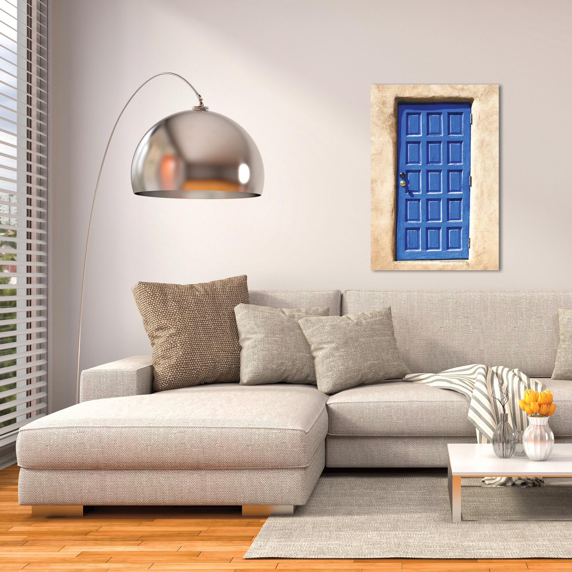 Eclectic Wall Art 'Blue Door' - Architecture Decor on Metal or Plexiglass - Lifestyle View
