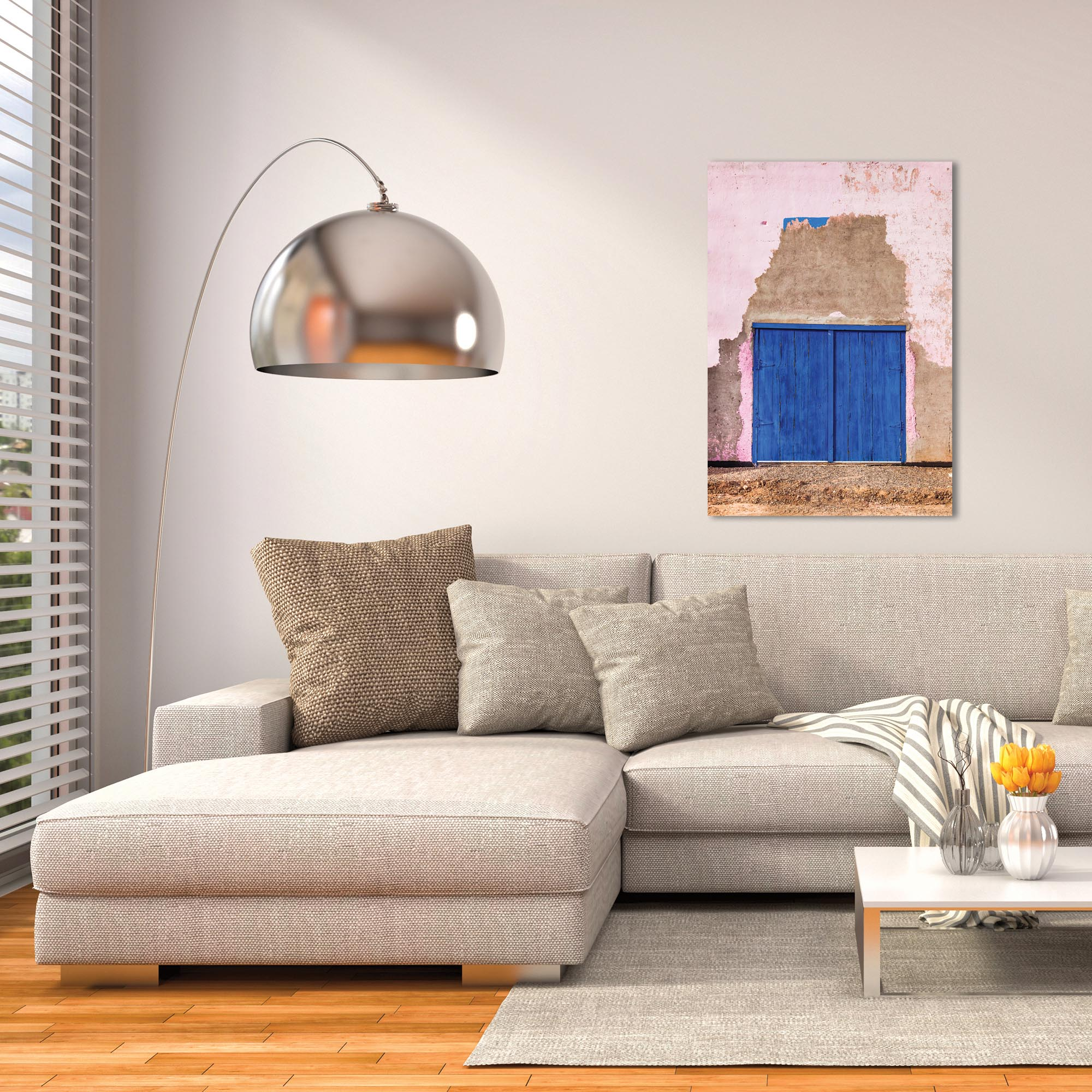 Eclectic Wall Art 'Blue Double Door' - Architecture Decor on Metal or Plexiglass - Lifestyle View