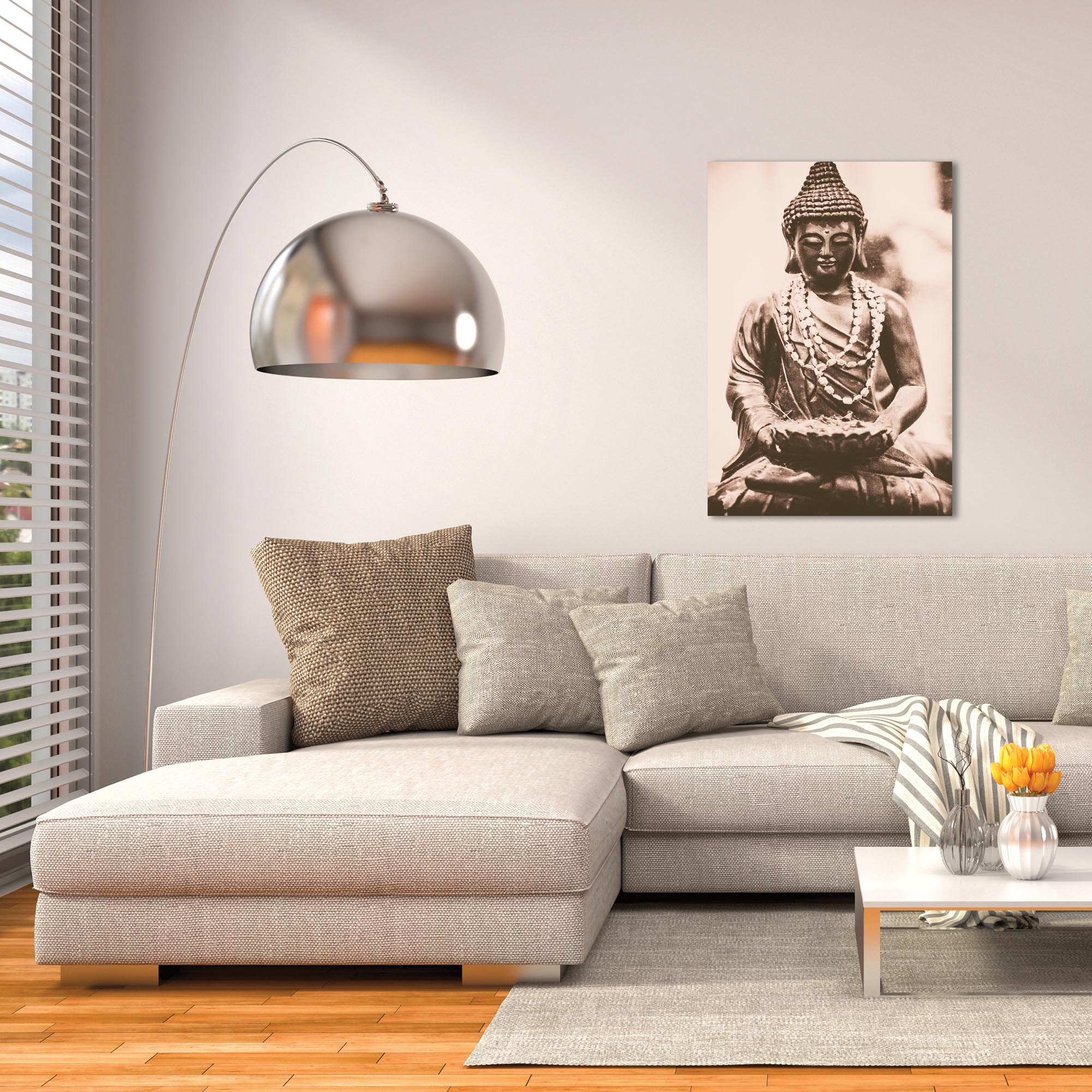Eclectic Wall Art 'Buddha Statue' - Religion Decor on Metal or Plexiglass - Lifestyle View