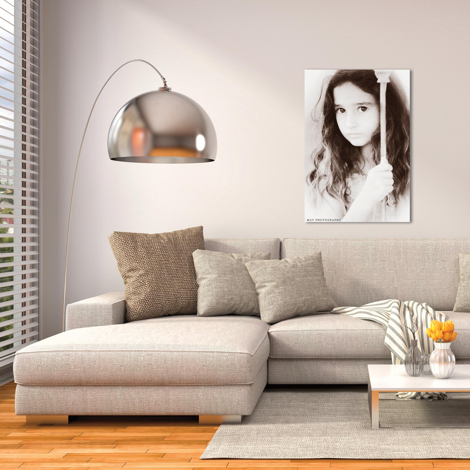 Casual Wall Art 'Little Lady' - People Decor on Metal or Plexiglass - Lifestyle View