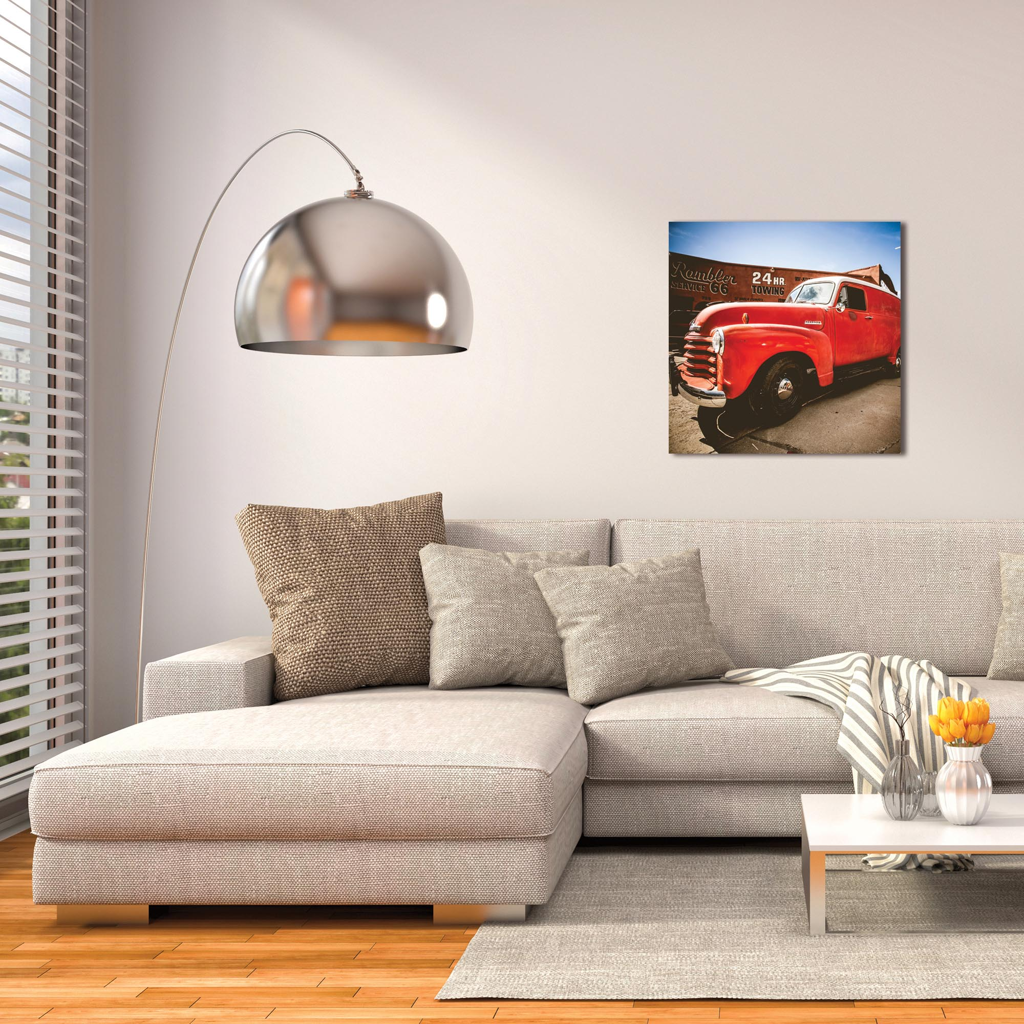 Americana Wall Art 'Big Red' - Classic Truck Decor on Metal or Plexiglass - Lifestyle View