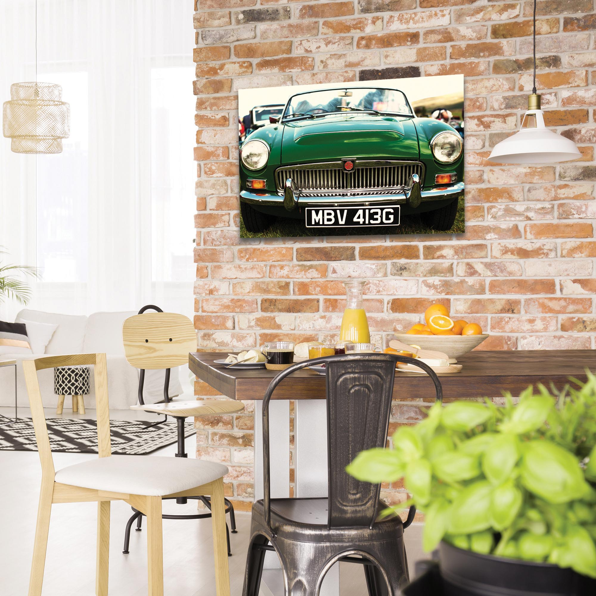 Americana Wall Art 'MG Grill' - Classic Cars Decor on Metal or Plexiglass - Lifestyle View