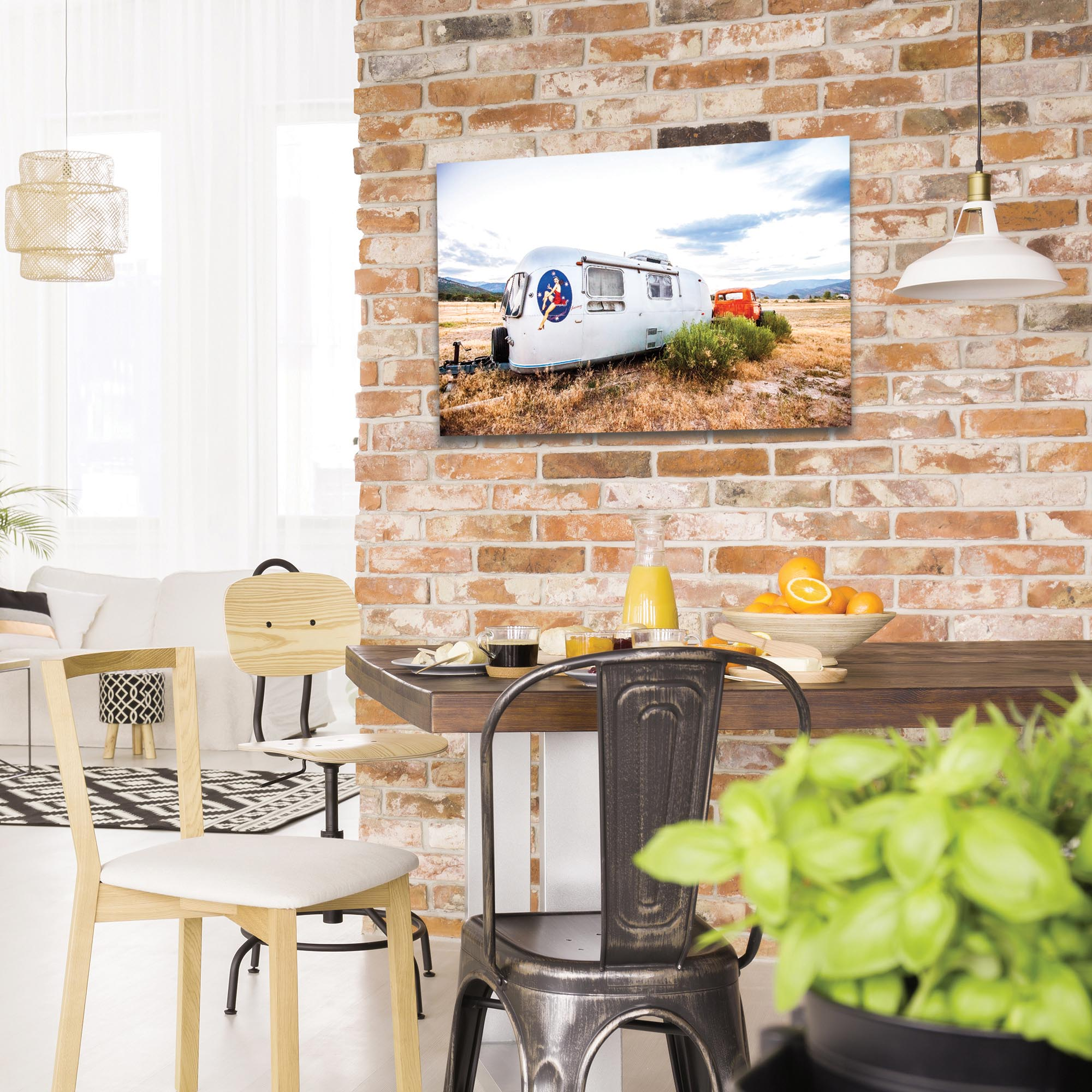 Americana Wall Art 'Airstream Lady' - Classic Cars Decor on Metal or Plexiglass - Lifestyle View