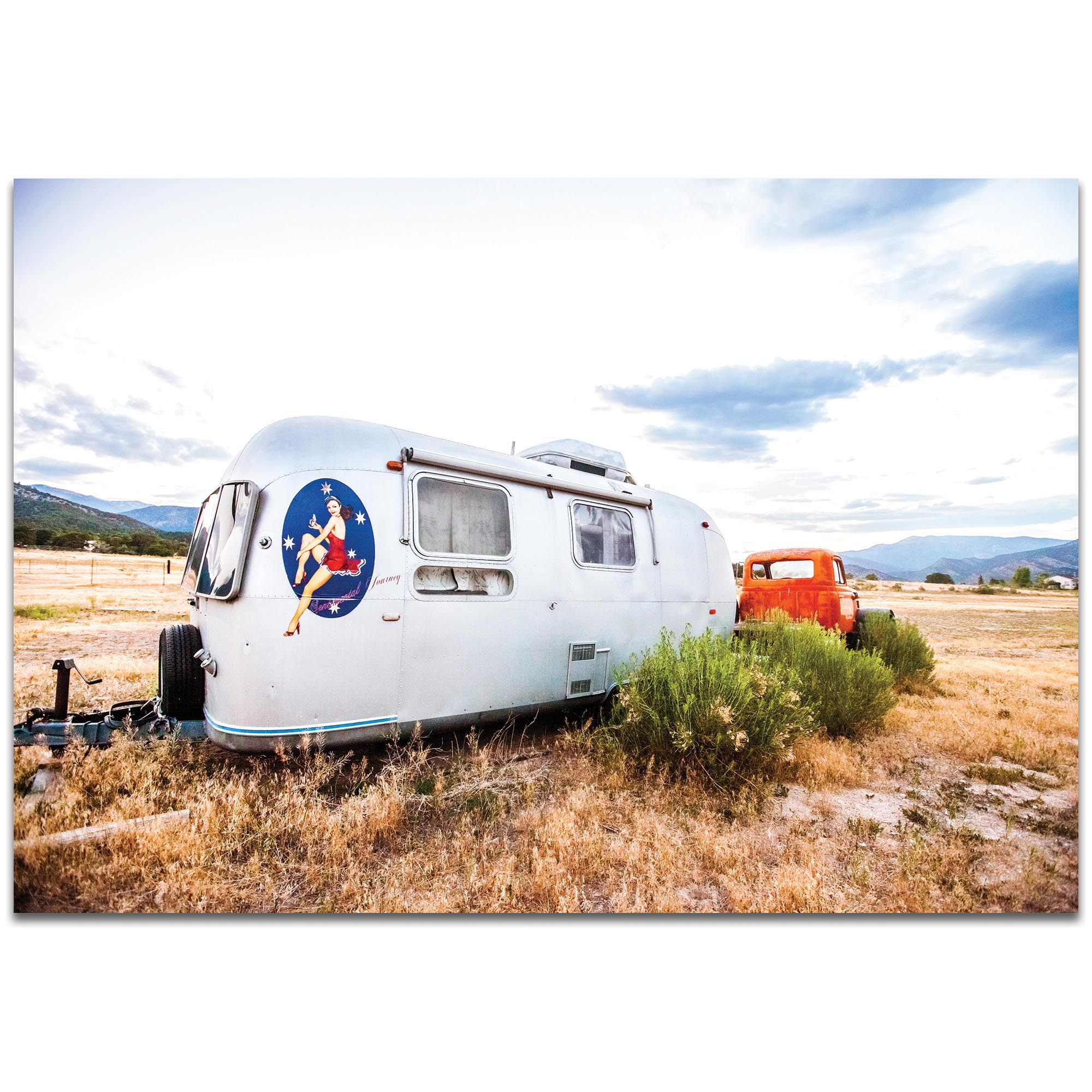 Americana Wall Art 'Airstream Lady' - Classic Cars Decor on Metal or Plexiglass