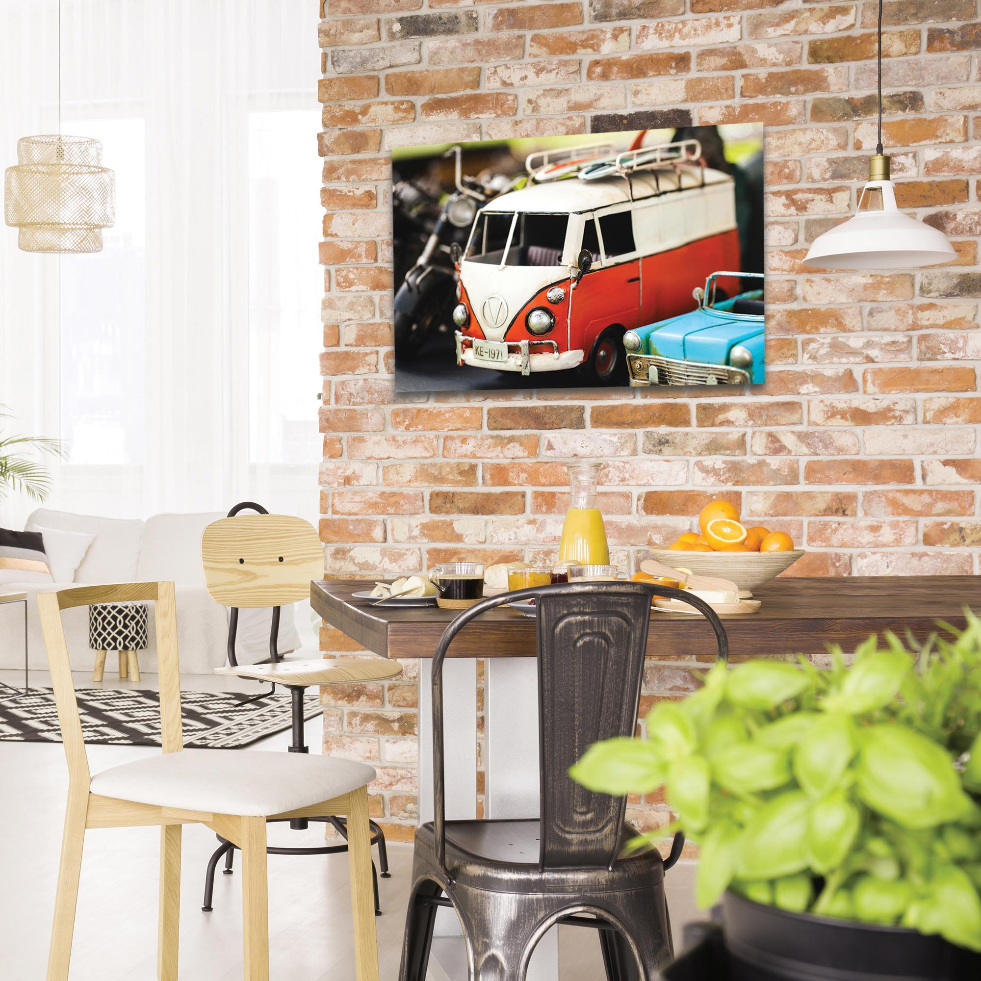 Americana Wall Art 'VW Tribute' - Classic Cars Decor on Metal or Plexiglass - Lifestyle View