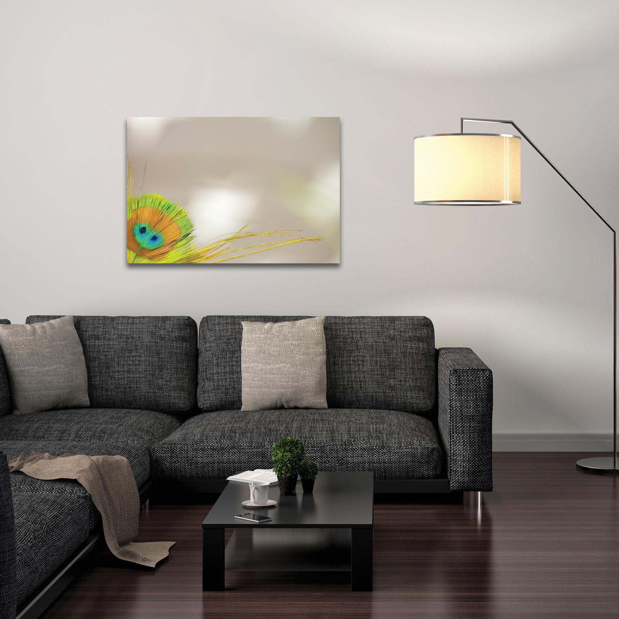 Contemporary Wall Art 'Peacock Corner' - Wildlife Decor on Metal or Plexiglass - Lifestyle View