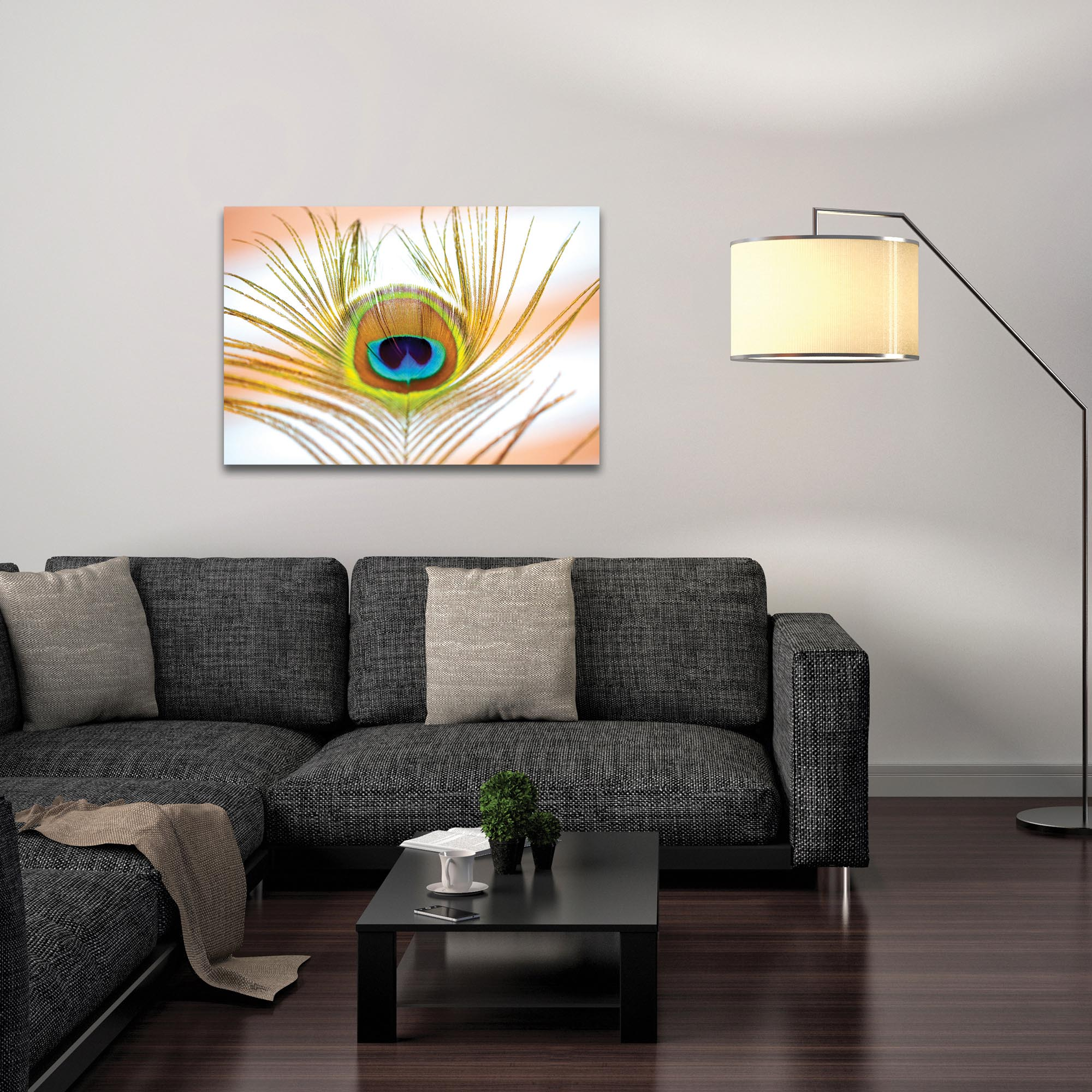 Contemporary Wall Art 'Peacock Sprout' - Wildlife Decor on Metal or Plexiglass - Lifestyle View