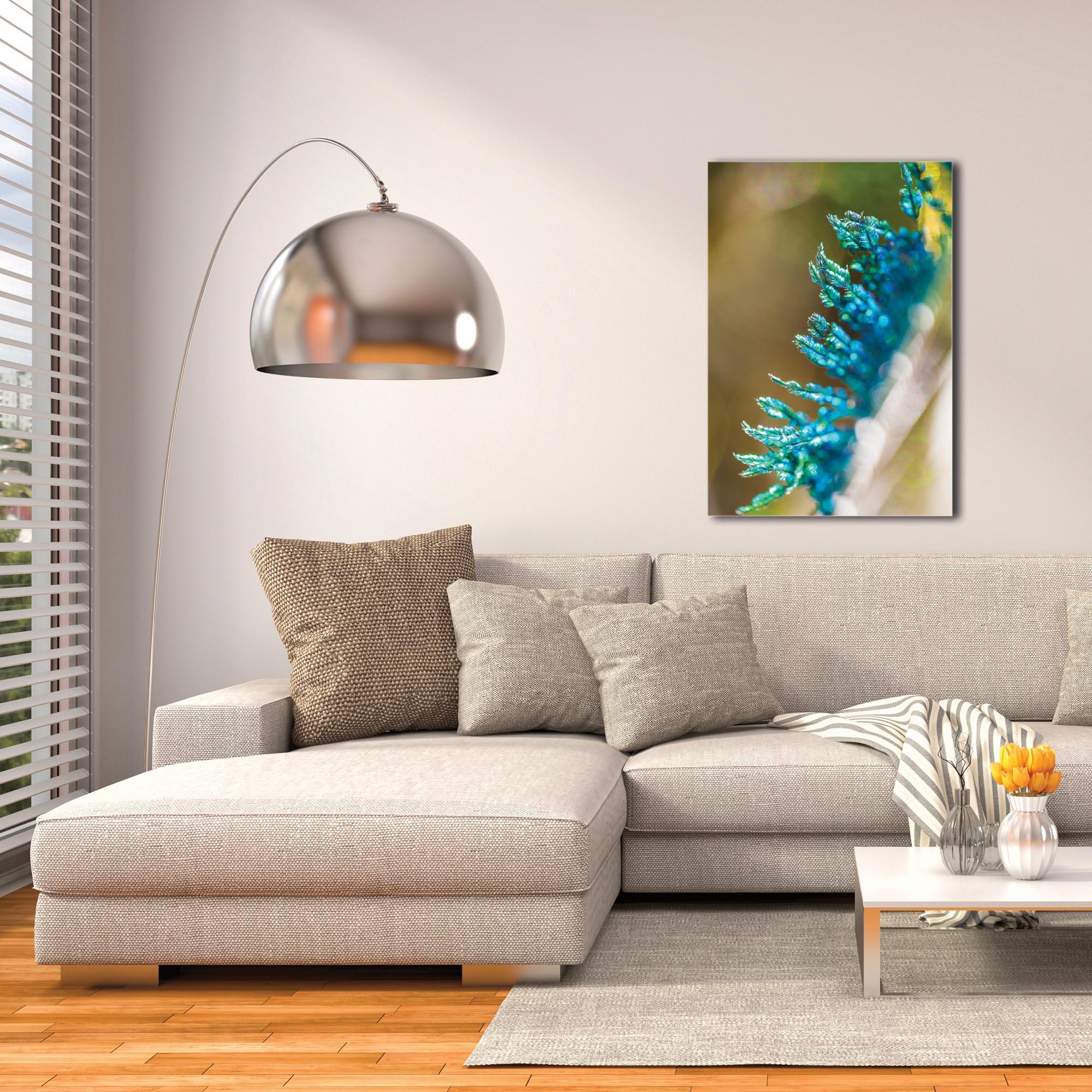 Contemporary Wall Art 'Feather Closeup' - Peacock Decor on Metal or Plexiglass - Image 3