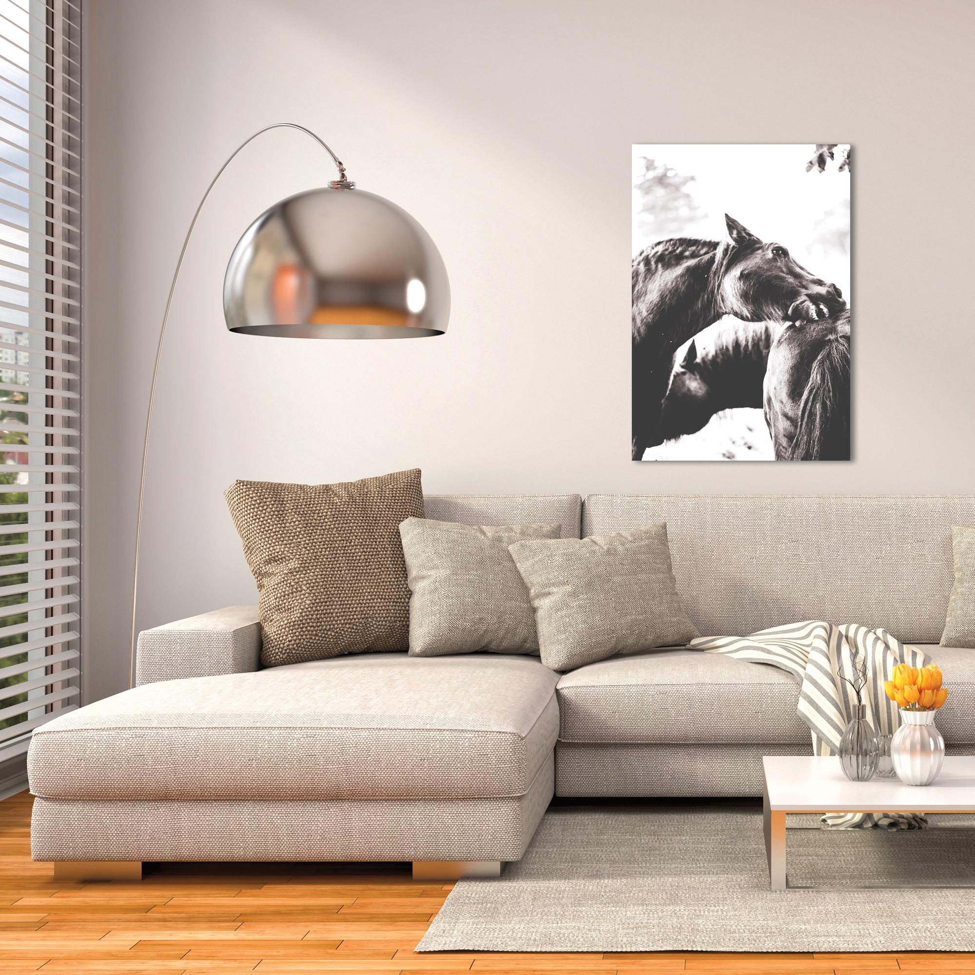 Contemporary Wall Art 'Horse Nibble' - Wildlife Decor on Metal or Plexiglass - Lifestyle View
