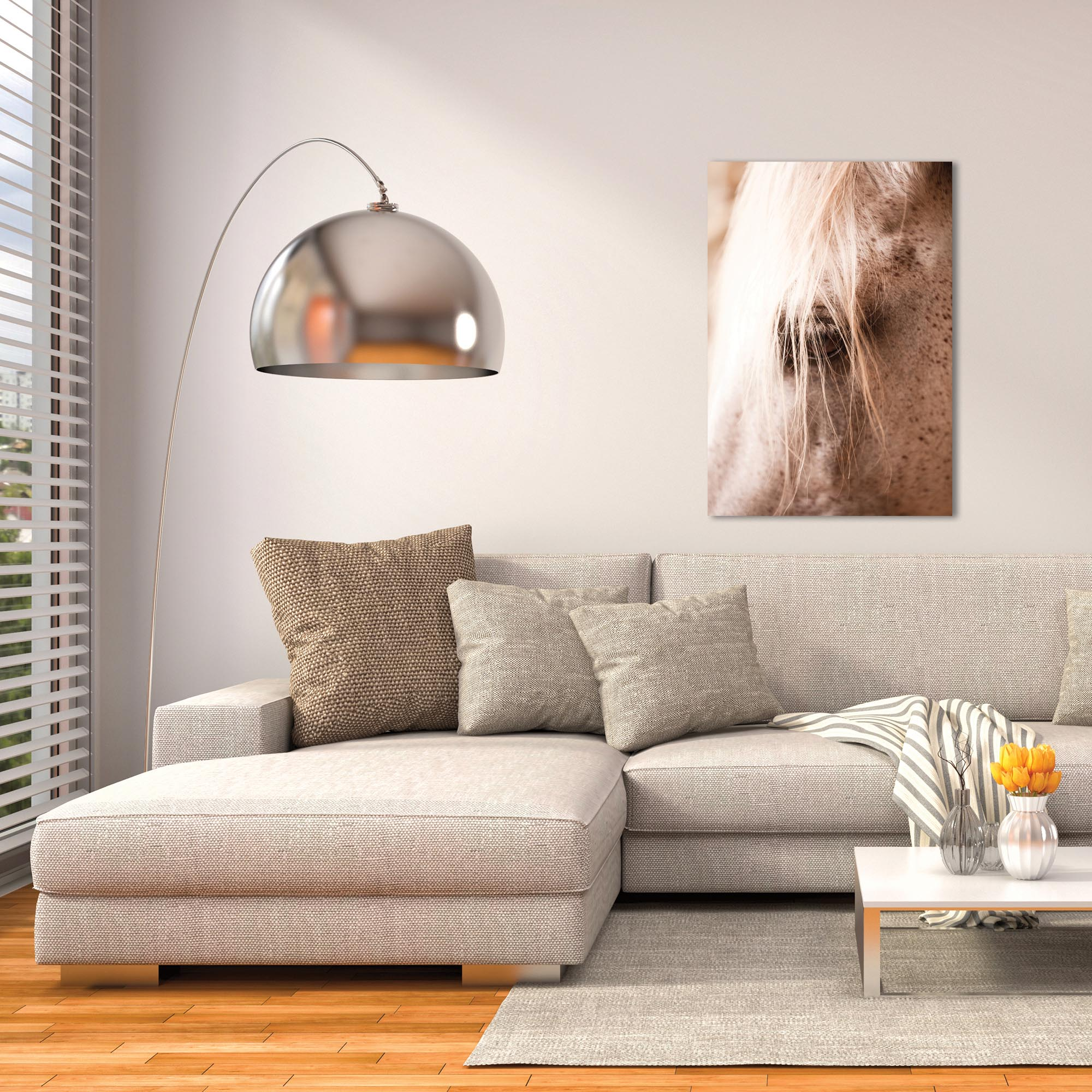 Contemporary Wall Art 'Horse Eye' - Horses Decor on Metal or Plexiglass - Lifestyle View