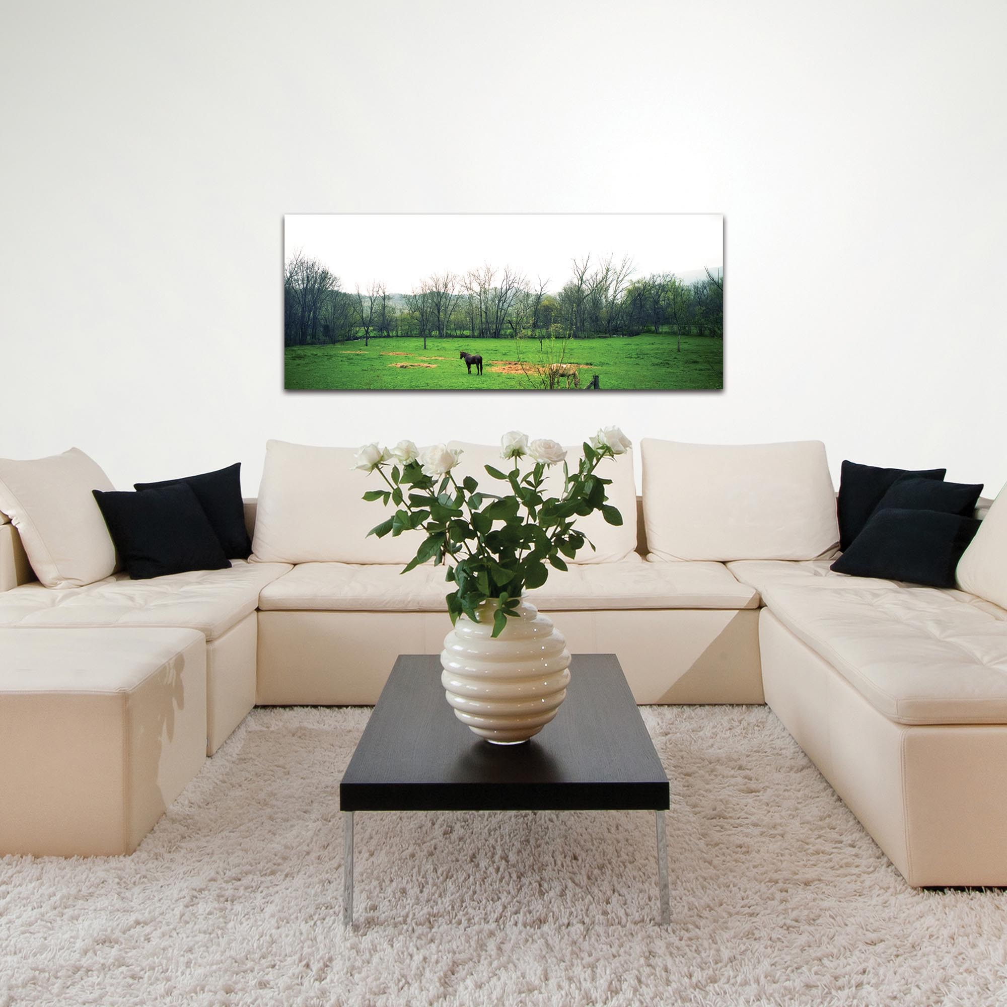 Western Wall Art 'Out to Pasture' - Horses Decor on Metal or Plexiglass - Lifestyle View
