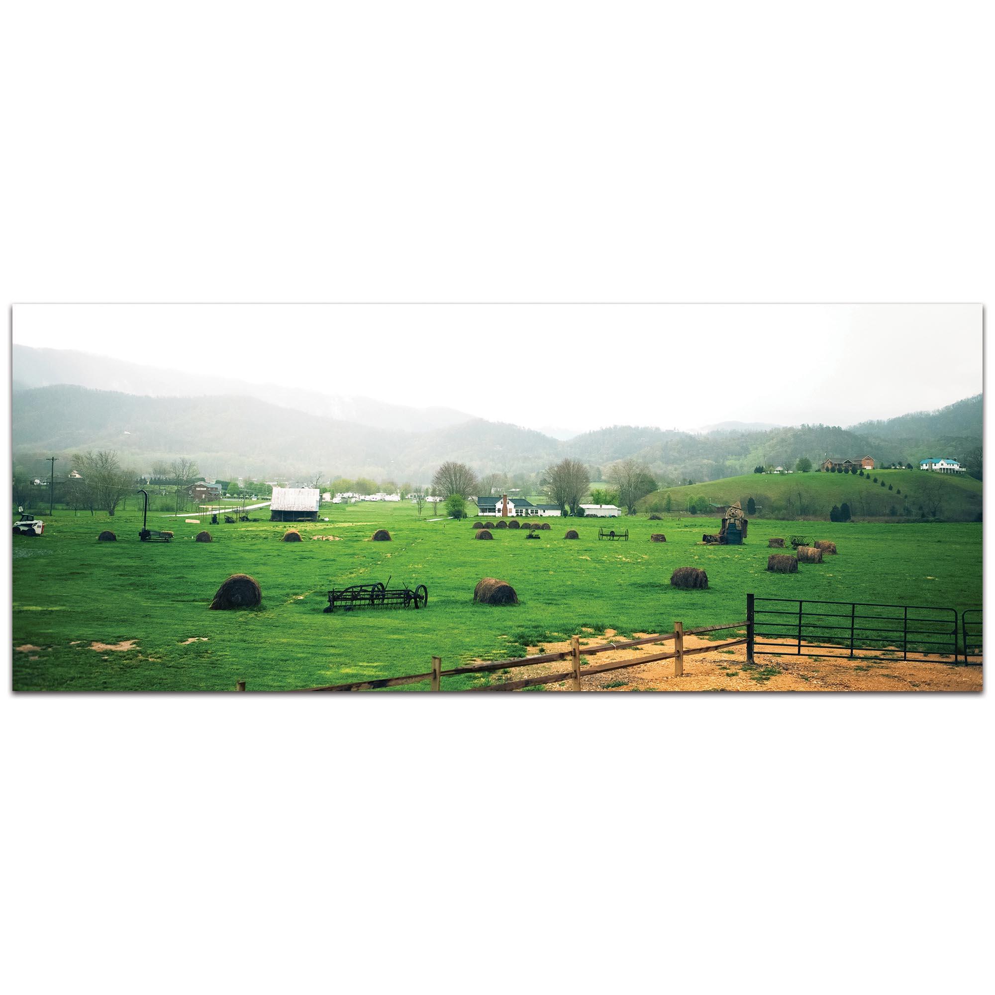 Western Wall Art 'Farming Town' - Farm Landscape Decor on Metal or Plexiglass
