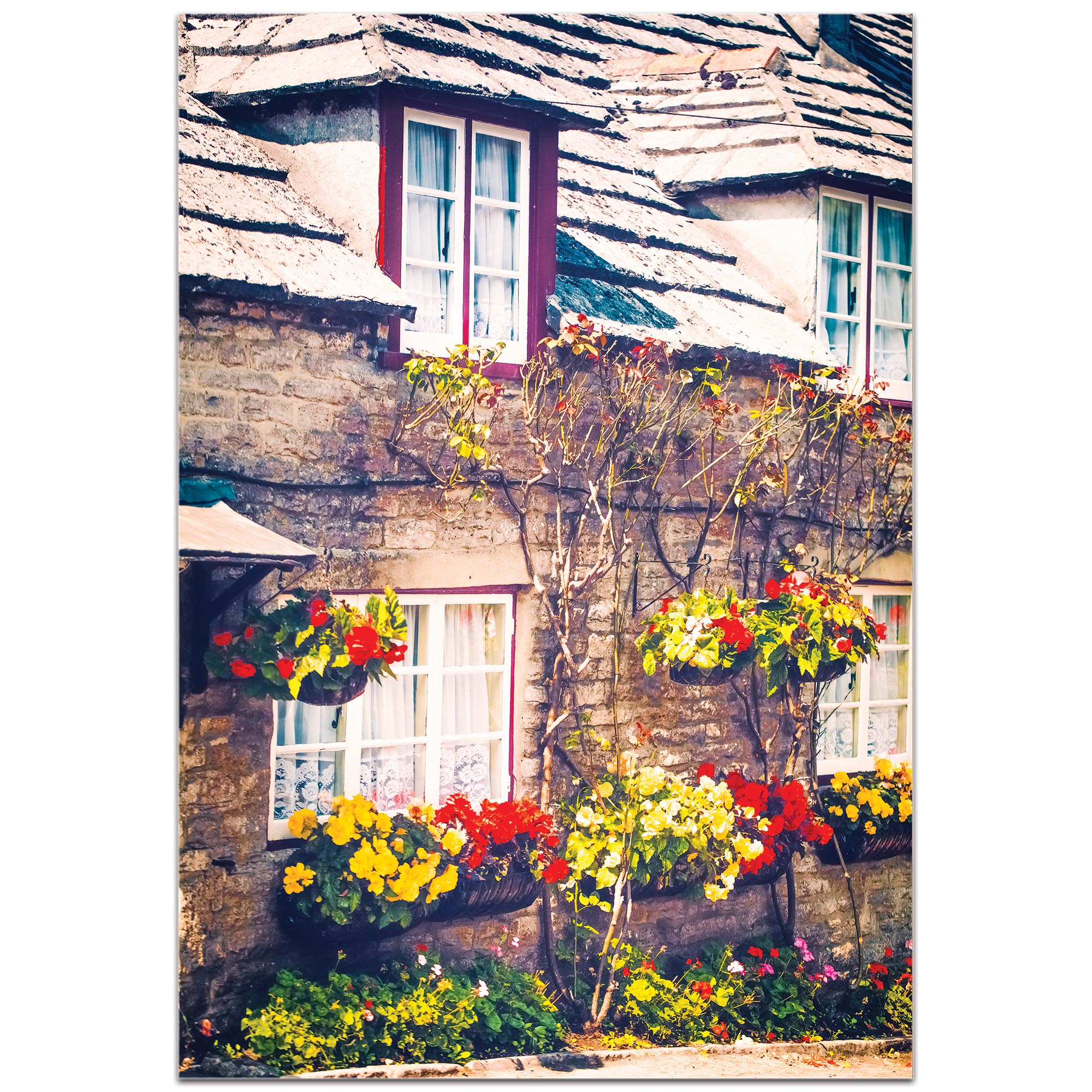 Cottage Wall Art 'Flowered Bricks' - Brick House Decor on Metal or Plexiglass - Image 2