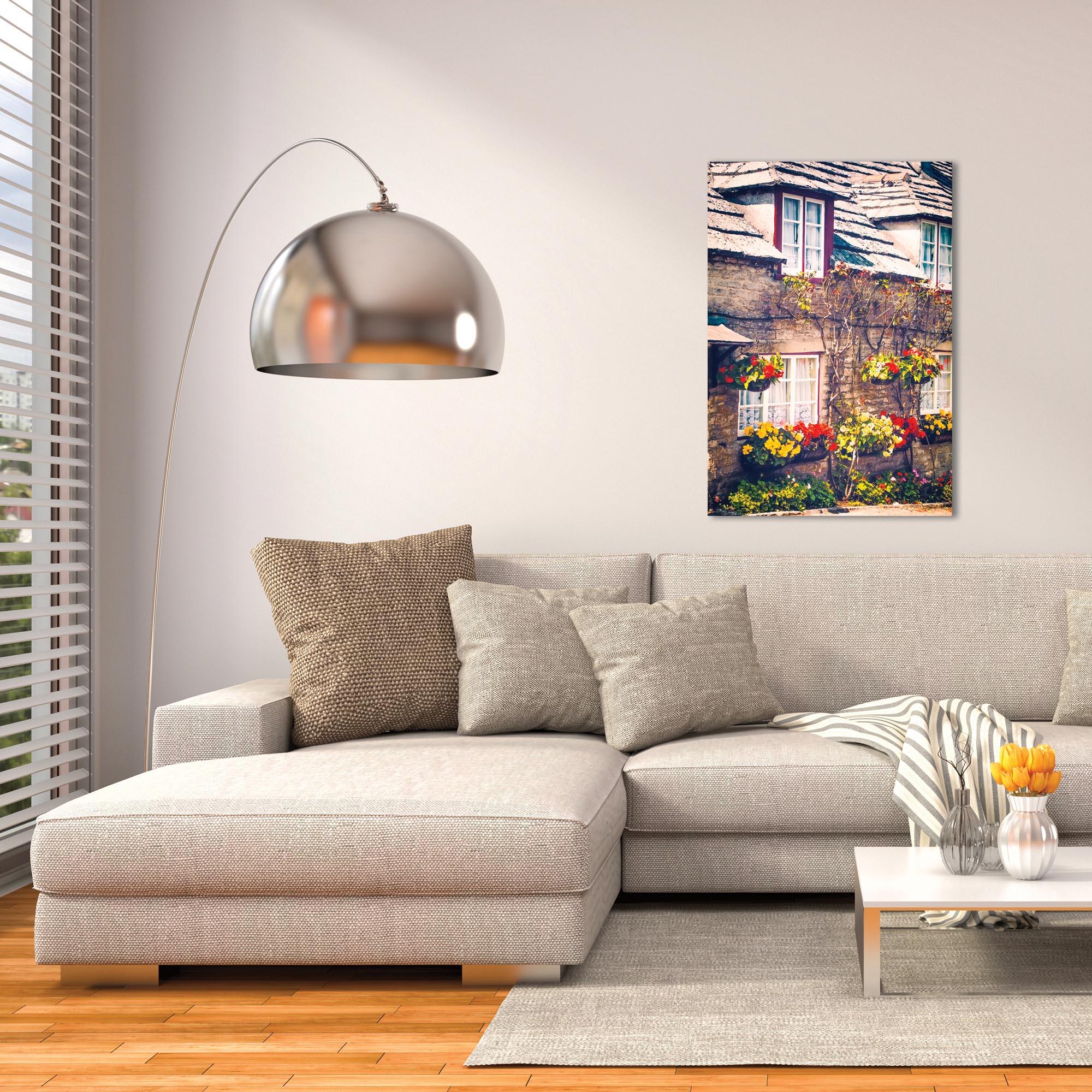 Cottage Wall Art 'Flowered Bricks' - Brick House Decor on Metal or Plexiglass - Lifestyle View
