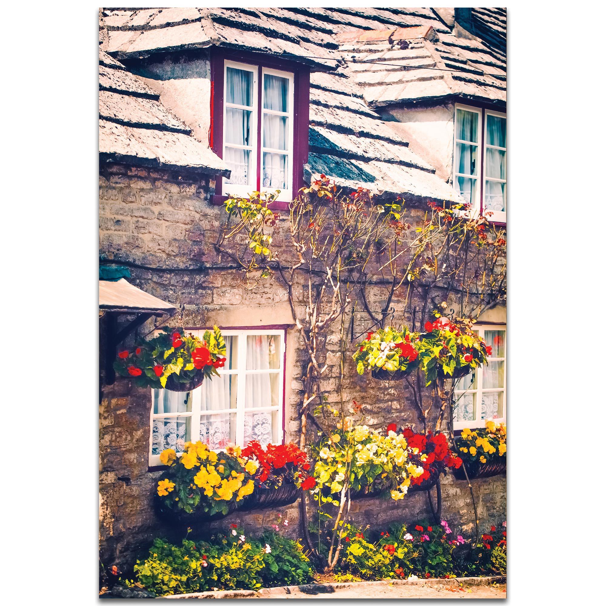 Cottage Wall Art 'Flowered Bricks' - Brick House Decor on Metal or Plexiglass