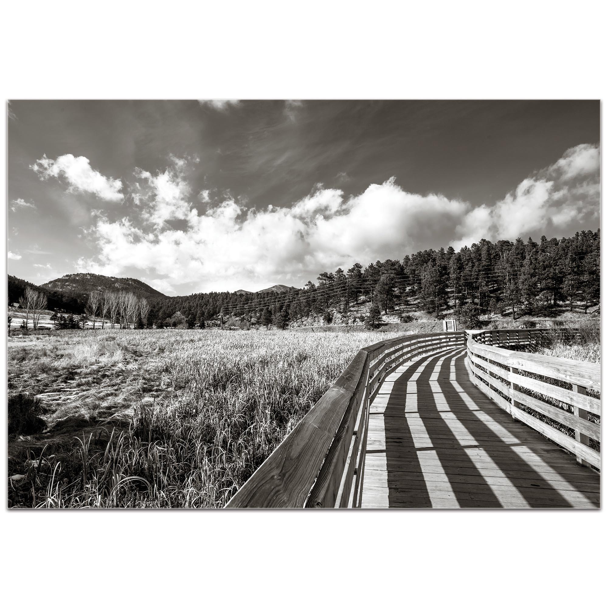 Film Noir Wall Art 'Wooden Walkway' - Dramatic Landscape Decor on Metal or Plexiglass - Image 2