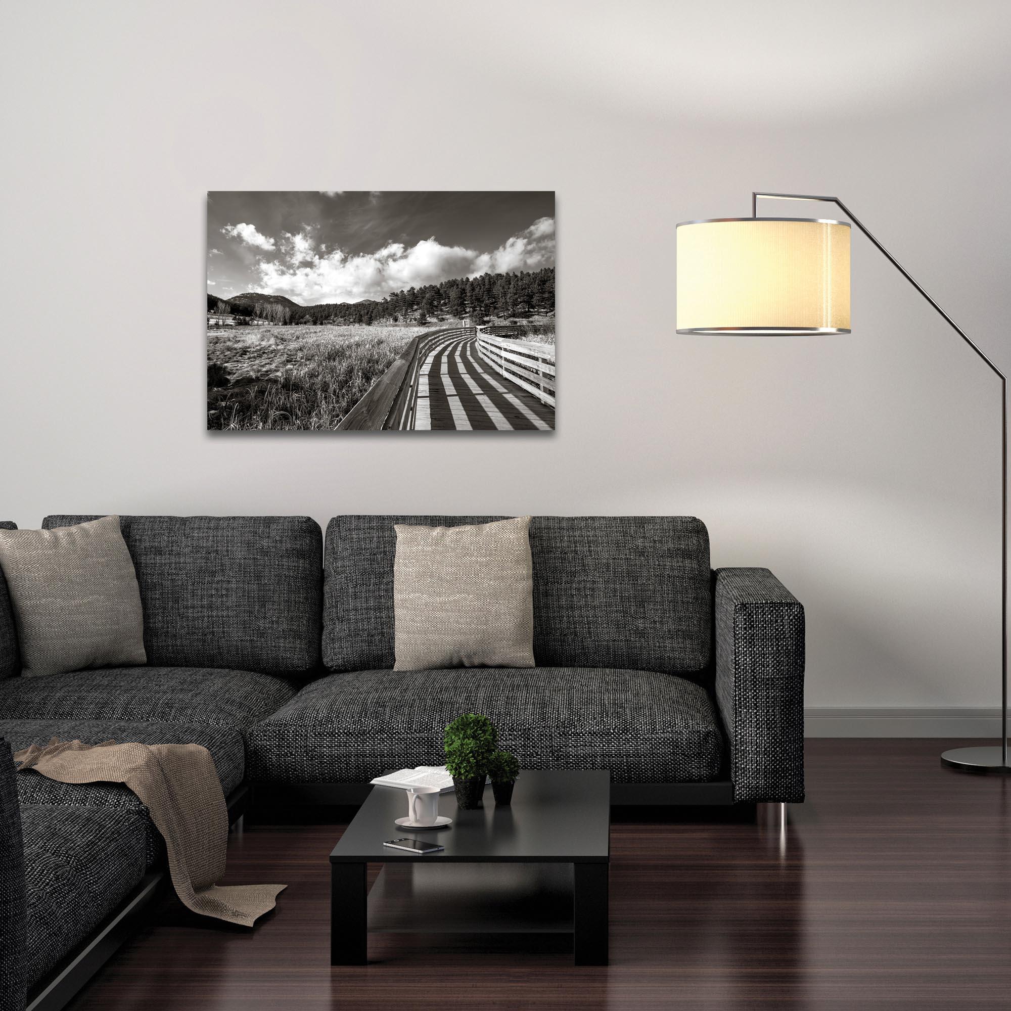 Film Noir Wall Art 'Wooden Walkway' - Dramatic Landscape Decor on Metal or Plexiglass - Lifestyle View