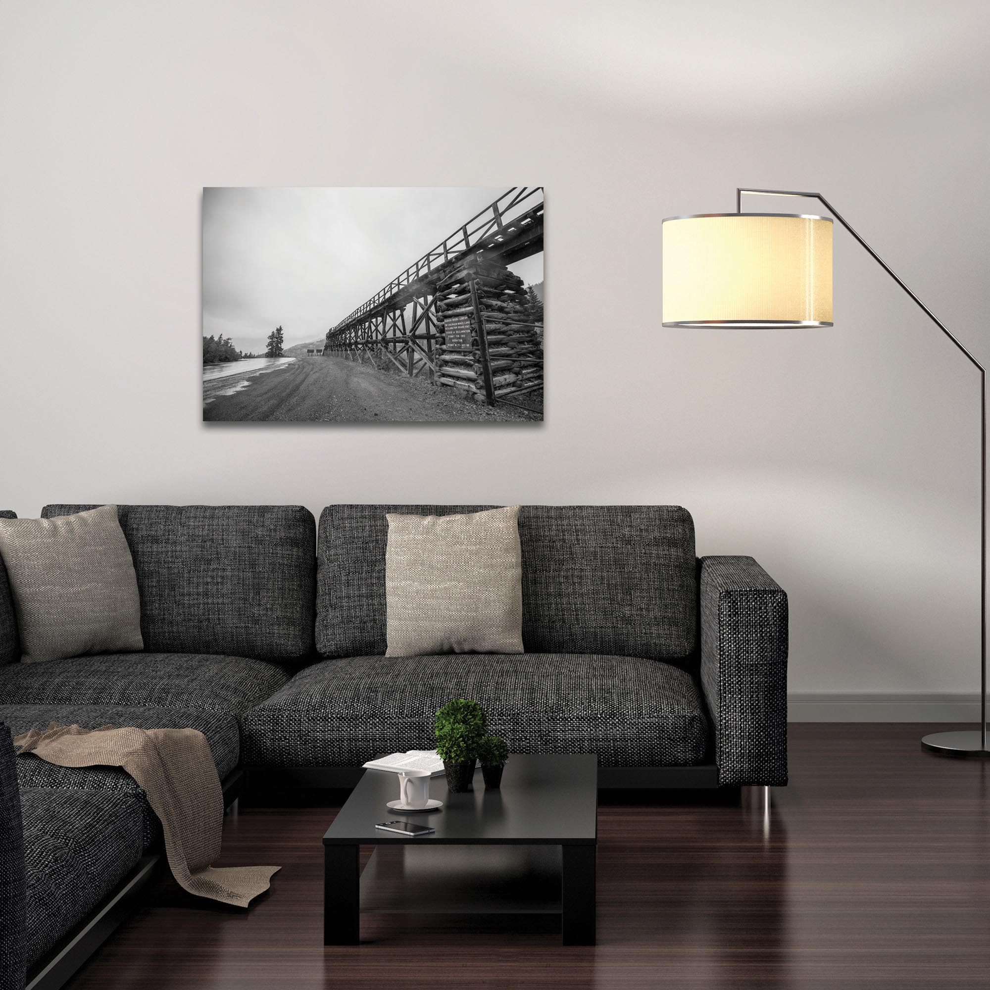 Western Wall Art 'Old Railroad Bridge' - Bridges Decor on Metal or Plexiglass - Lifestyle View