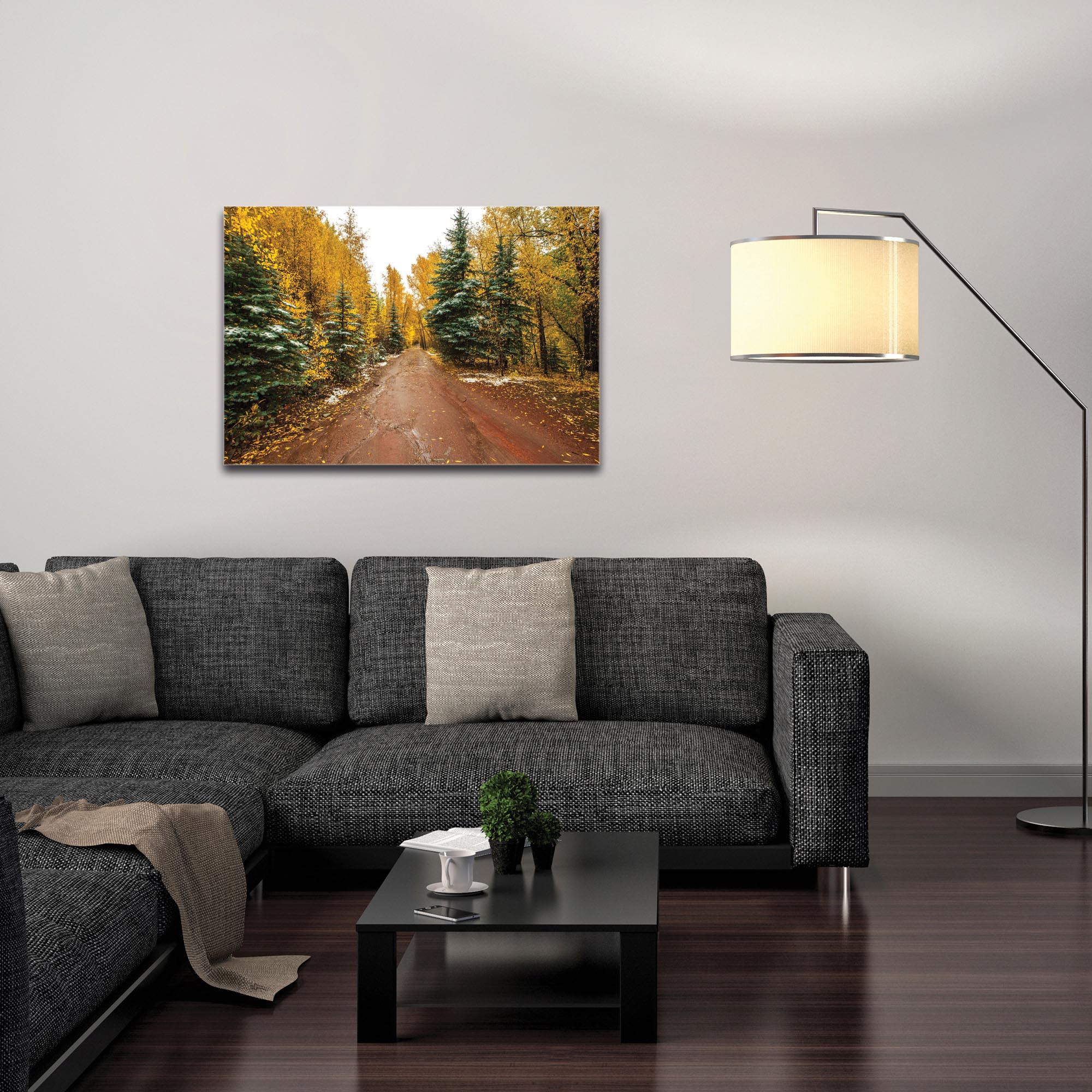 Landscape Photography 'Road Less Traveled' - Autumn Trees Art on Metal or Plexiglass - Image 3