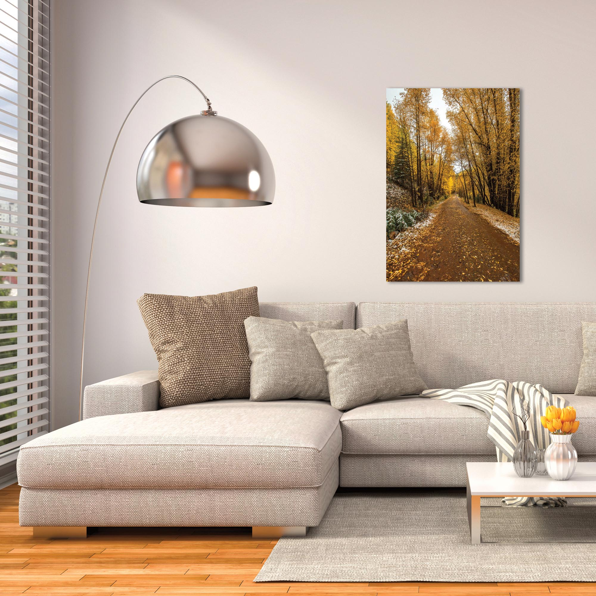 Landscape Photography 'Mountain Pass' - Autumn Trees Art on Metal or Plexiglass - Lifestyle View