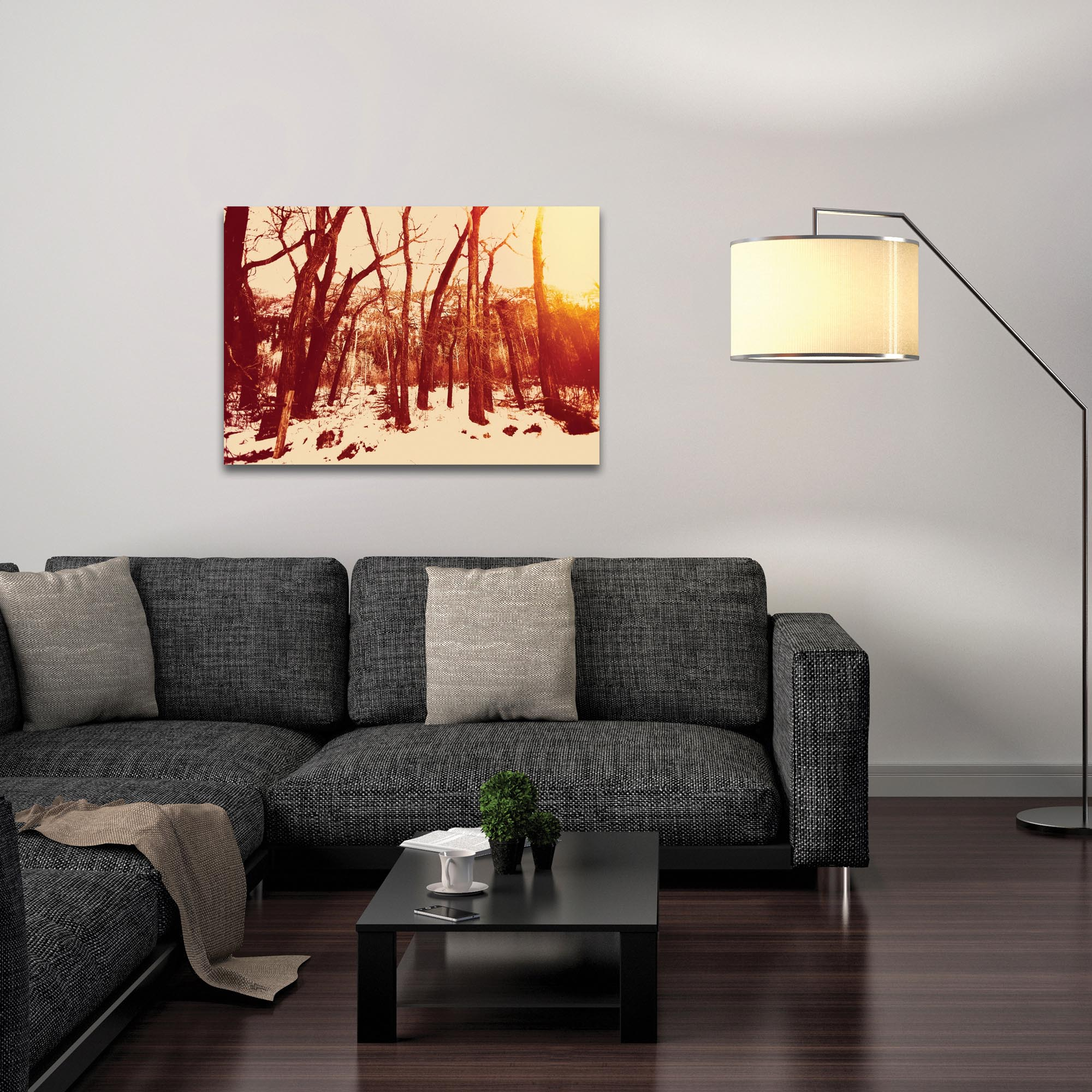 Landscape Photography 'Sepia Snowfall' - Winter Trees Art on Metal or Plexiglass - Lifestyle View