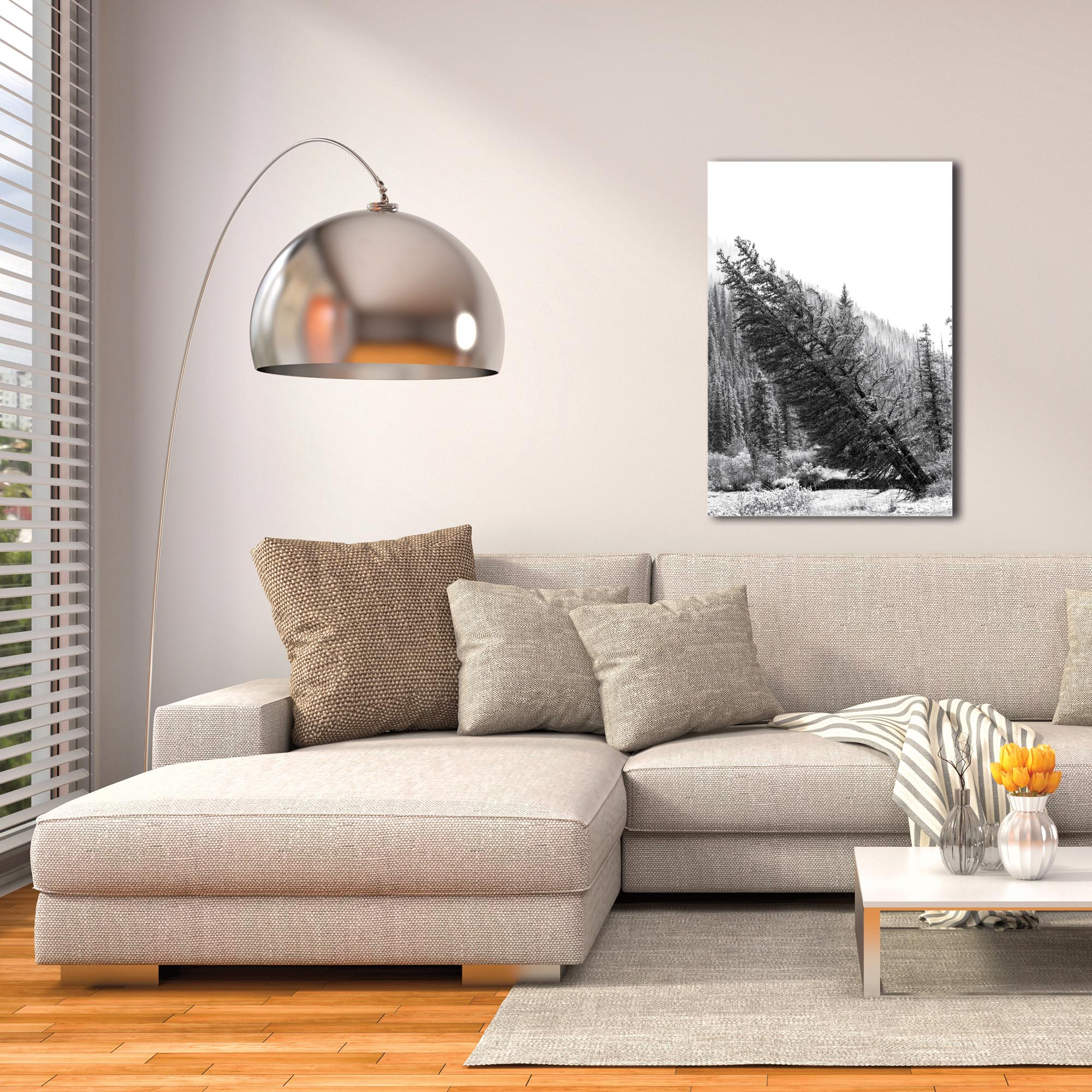Black & White Photography 'Tilted Pines' - Winter Trees Art on Metal or Plexiglass - Image 3