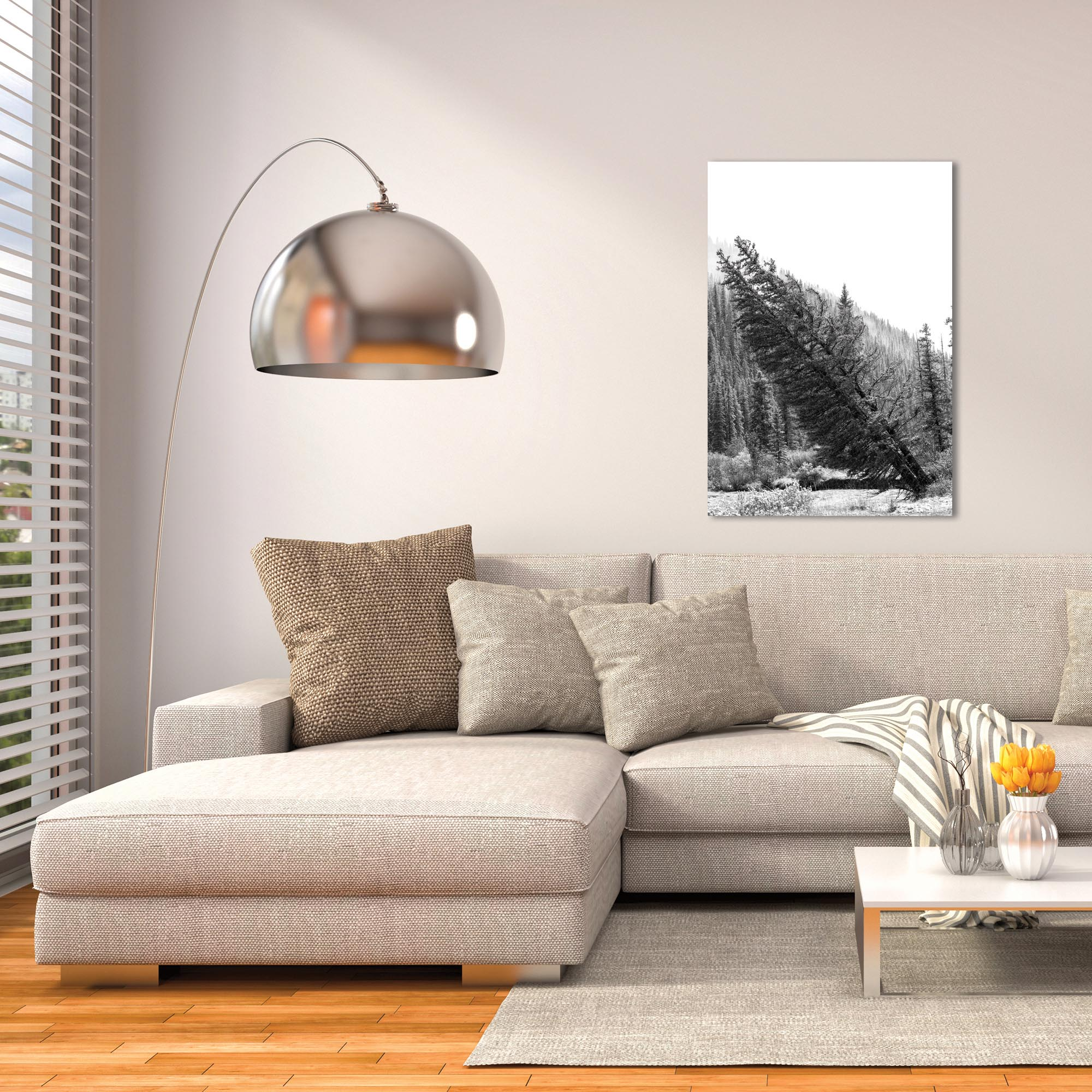 Black & White Photography 'Tilted Pines' - Winter Trees Art on Metal or Plexiglass - Lifestyle View