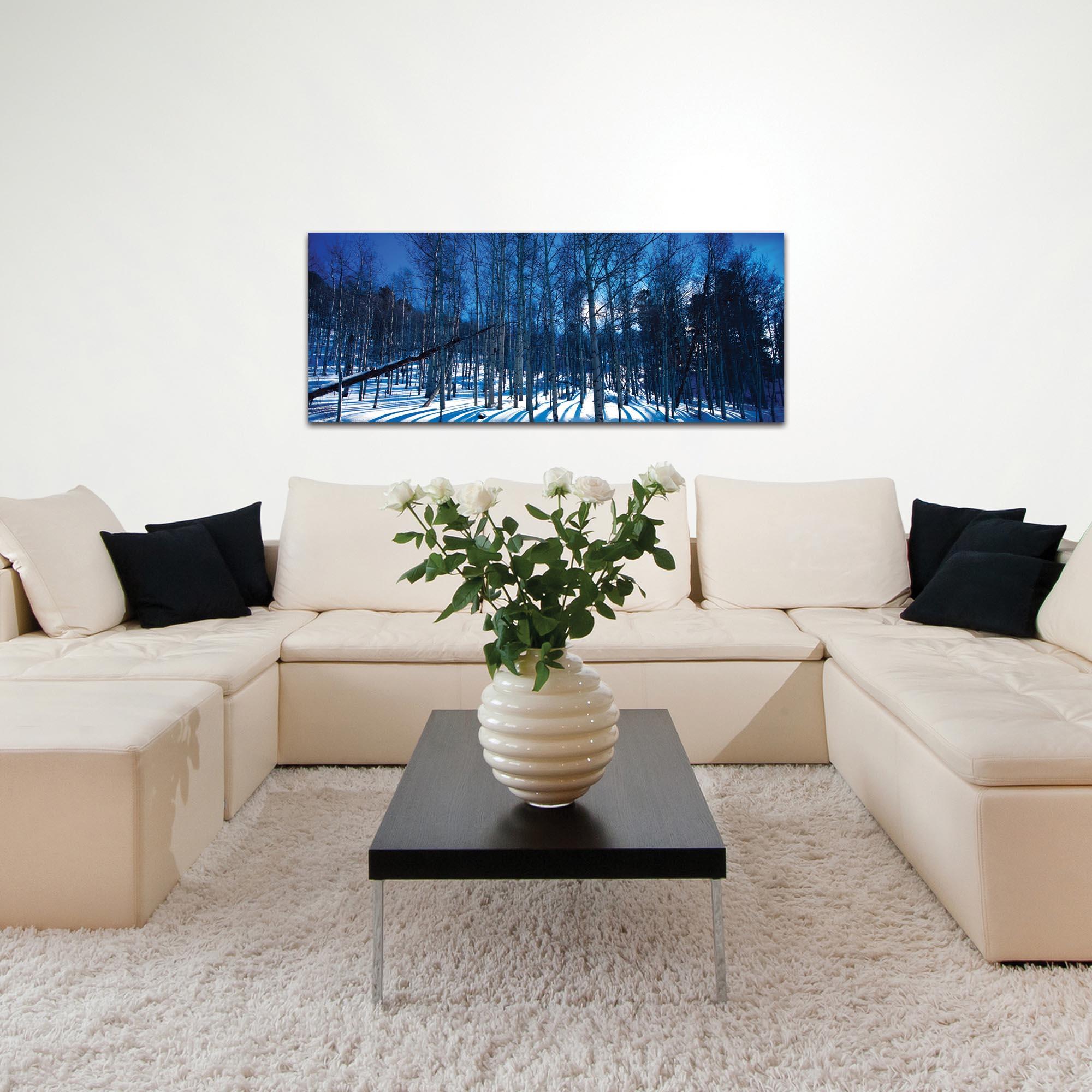 Landscape Photography 'Aspen Blues' - Winter Scene Art on Metal or Plexiglass - Lifestyle View