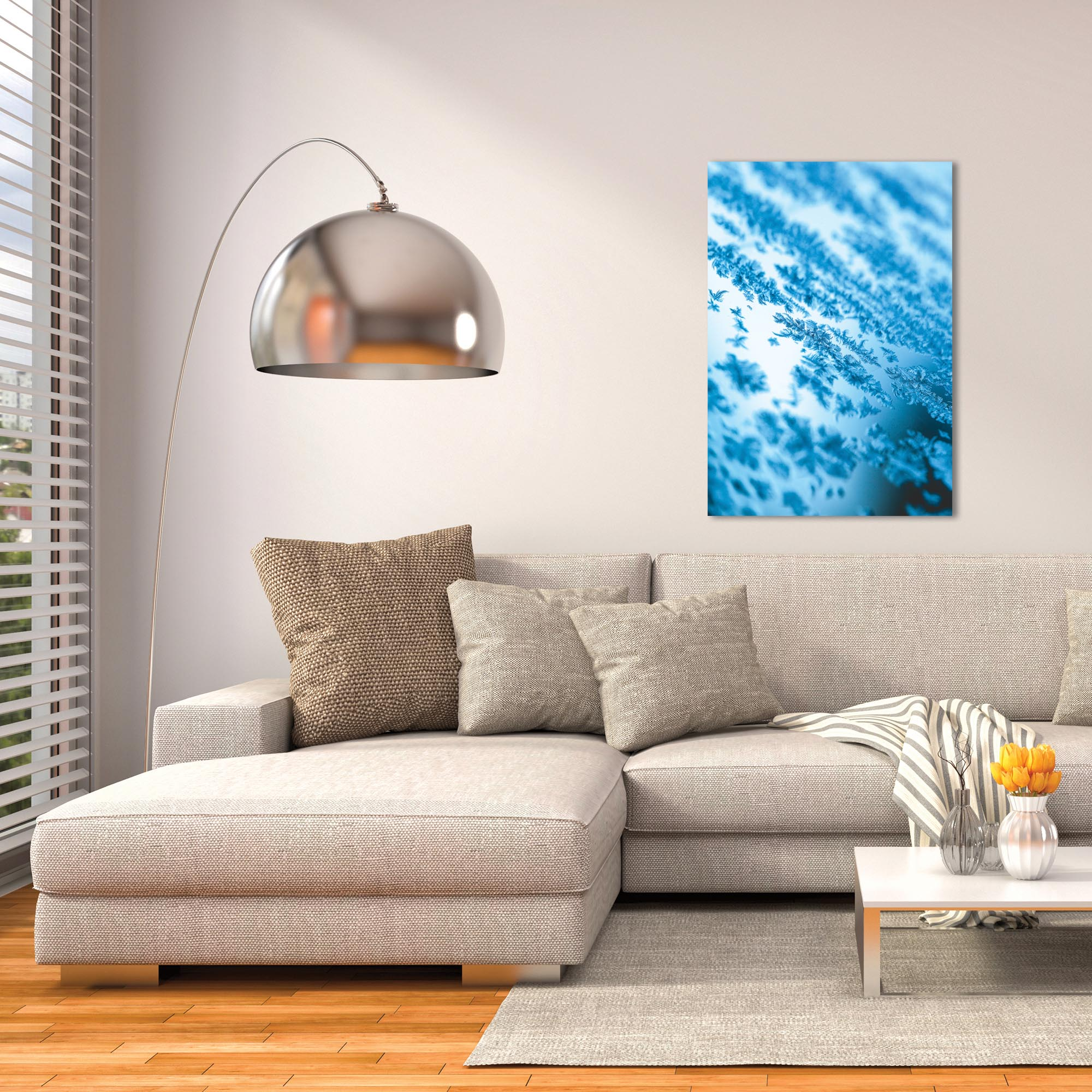 Modern Wall Art 'Icy' - Winter Decor on Metal or Plexiglass - Lifestyle View