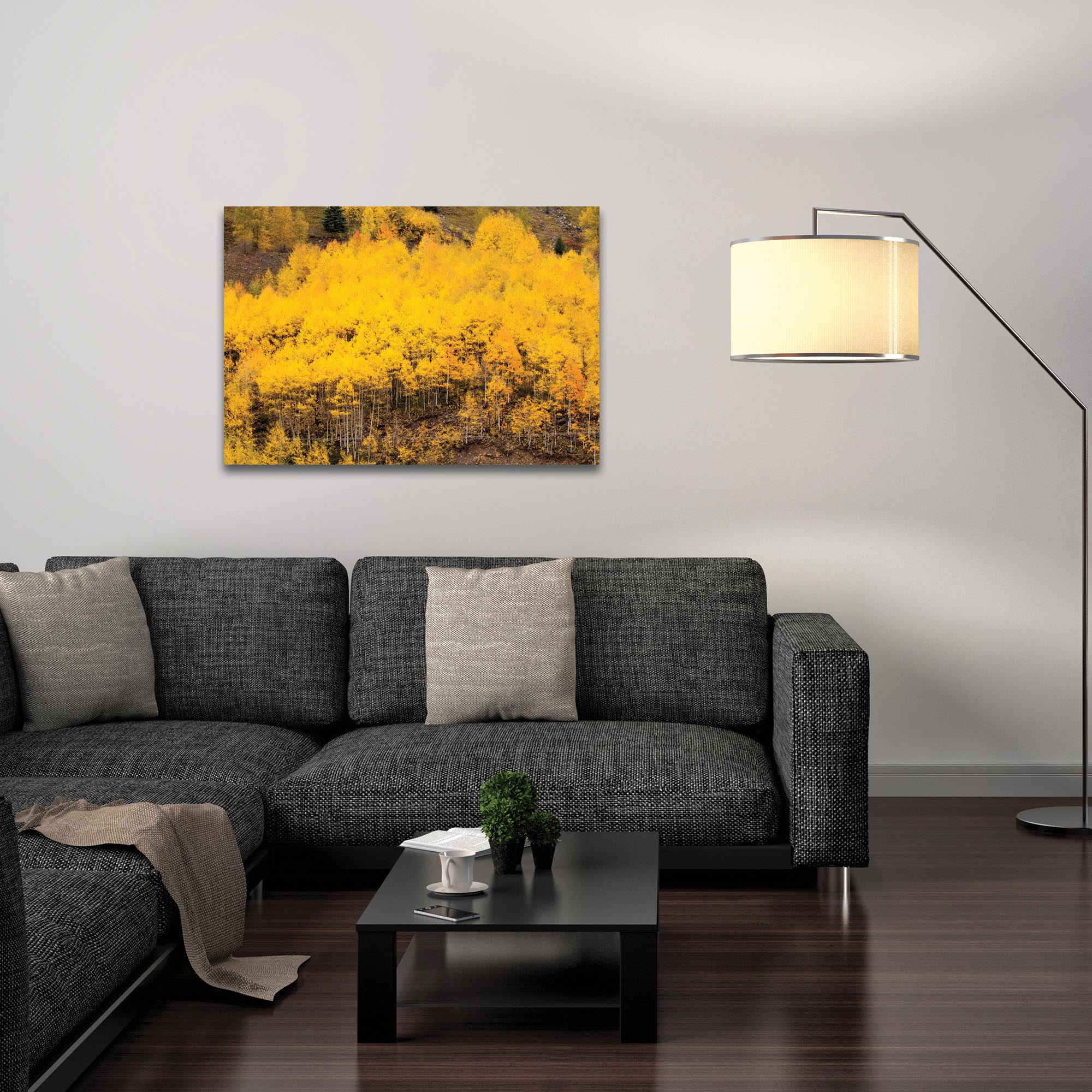 Landscape Photography 'Aspen Autumn' - Autumn Nature Art on Metal or Plexiglass - Lifestyle View