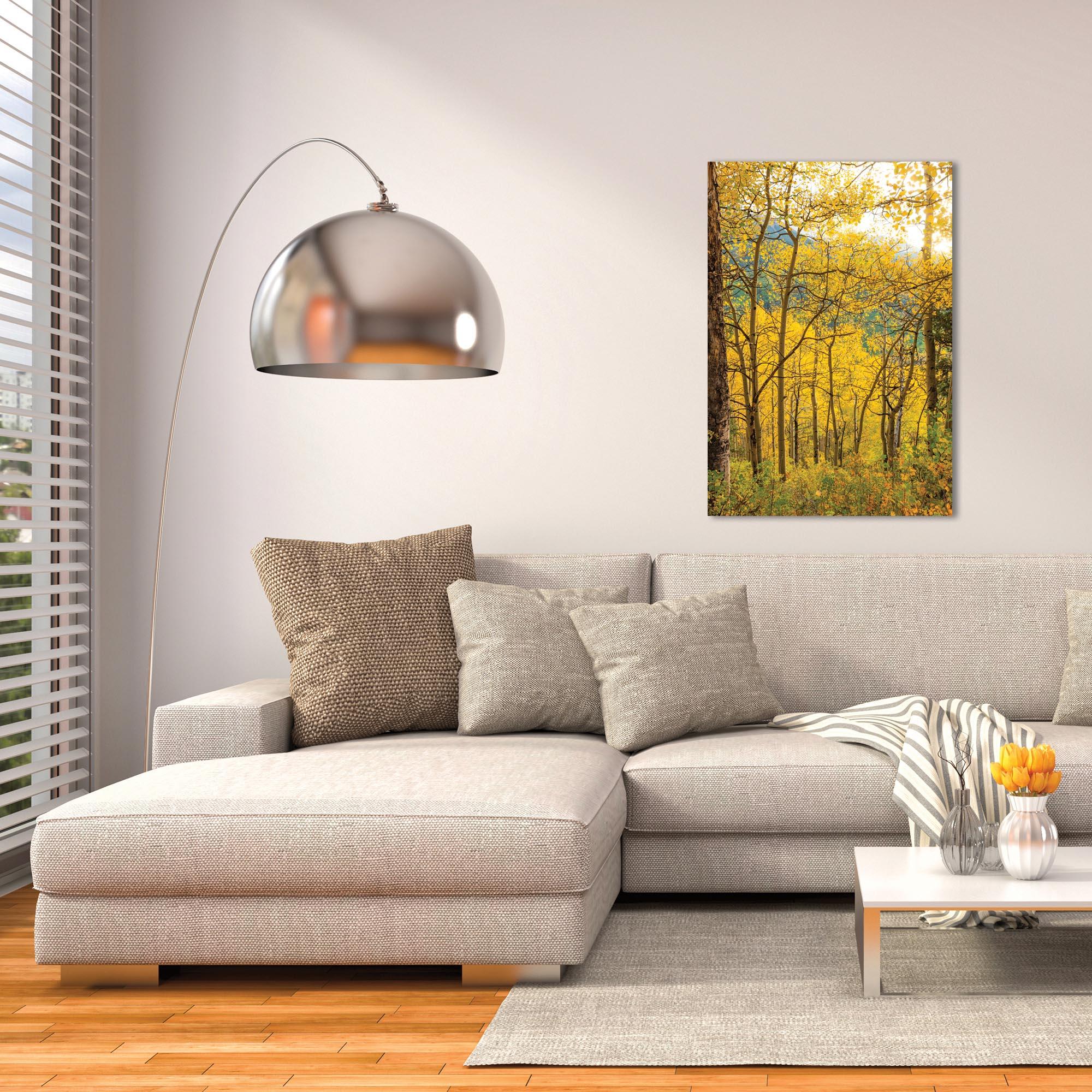 Landscape Photography 'Aspen Path' - Autumn Nature Art on Metal or Plexiglass - Lifestyle View