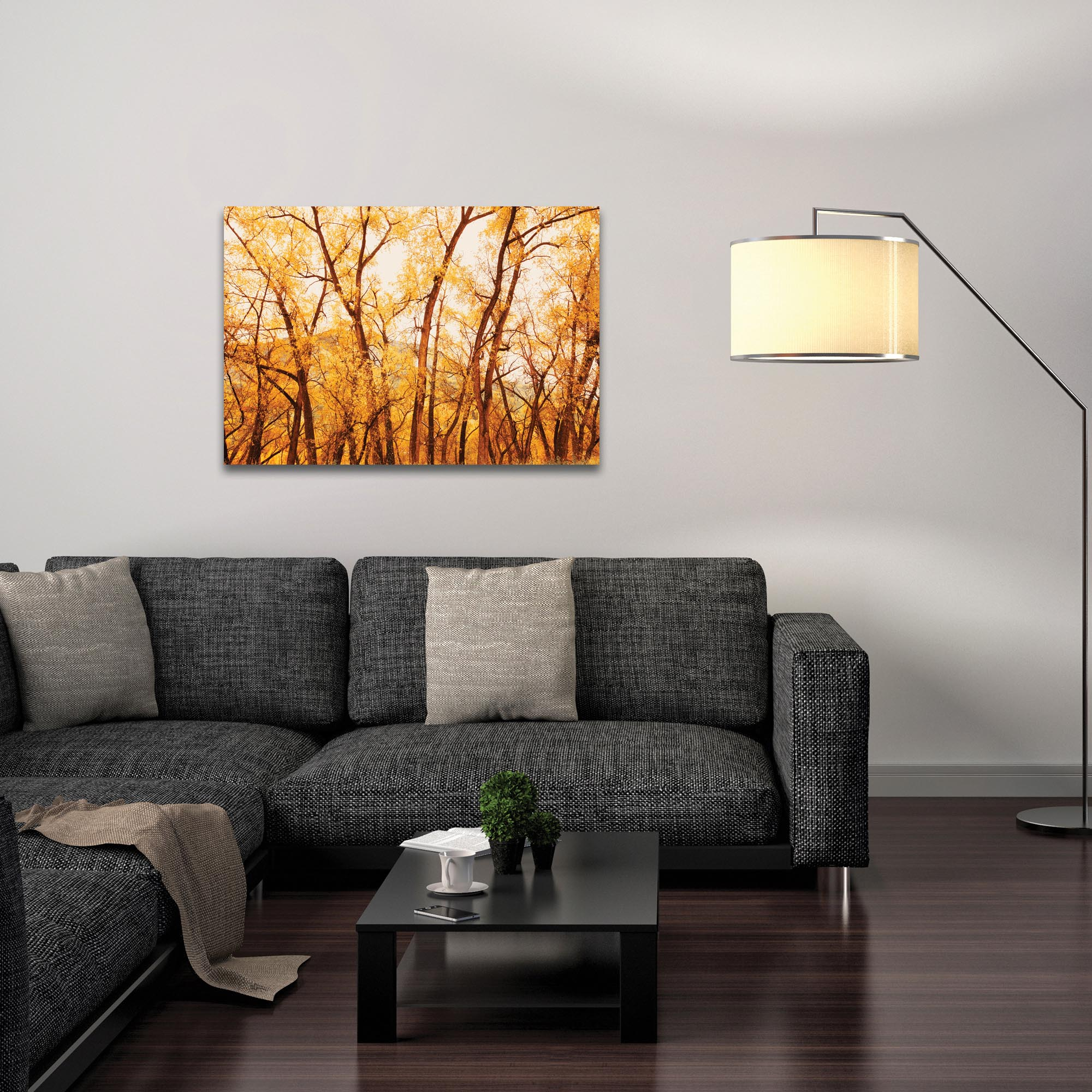 Landscape Photography 'Fall Trees' - Autumn Nature Art on Metal or Plexiglass - Lifestyle View