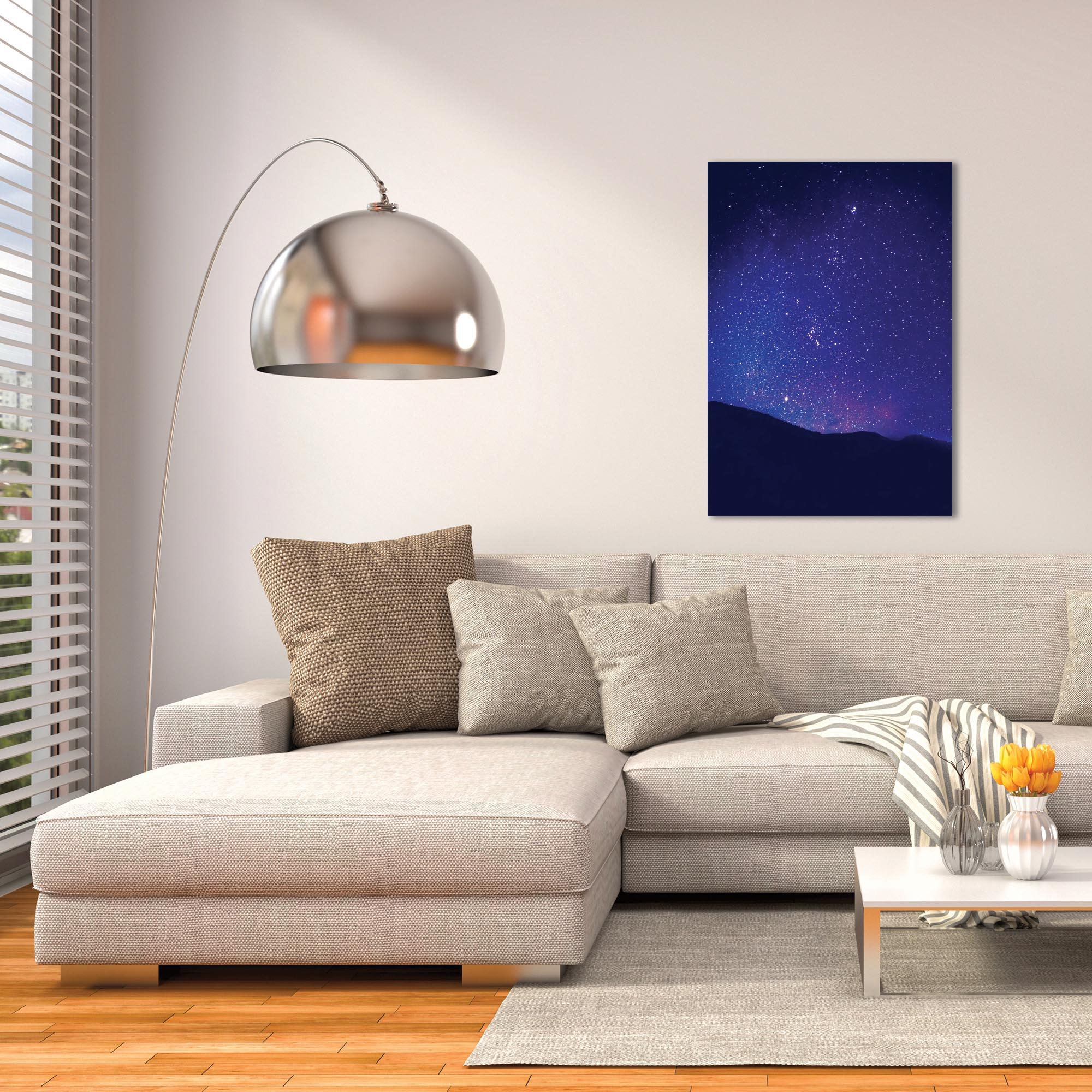 Nature Photography 'Satin Sky' - Night Sky Art on Metal or Plexiglass - Lifestyle View