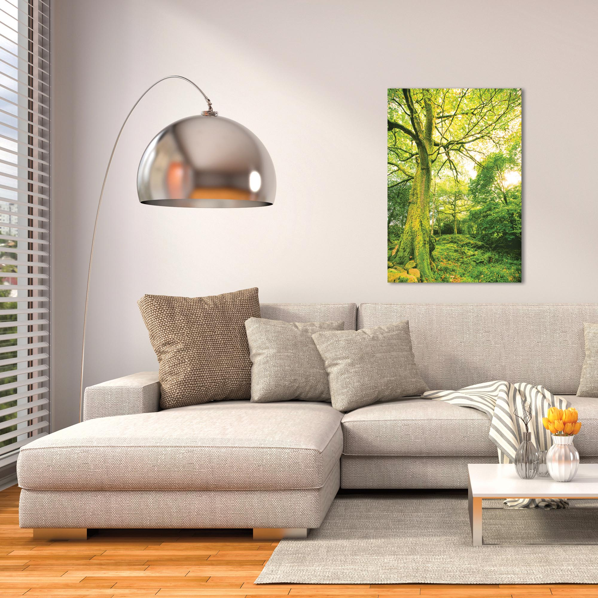 Landscape Photography 'Mossy Grove' - Forest Scene Art on Metal or Plexiglass - Lifestyle View