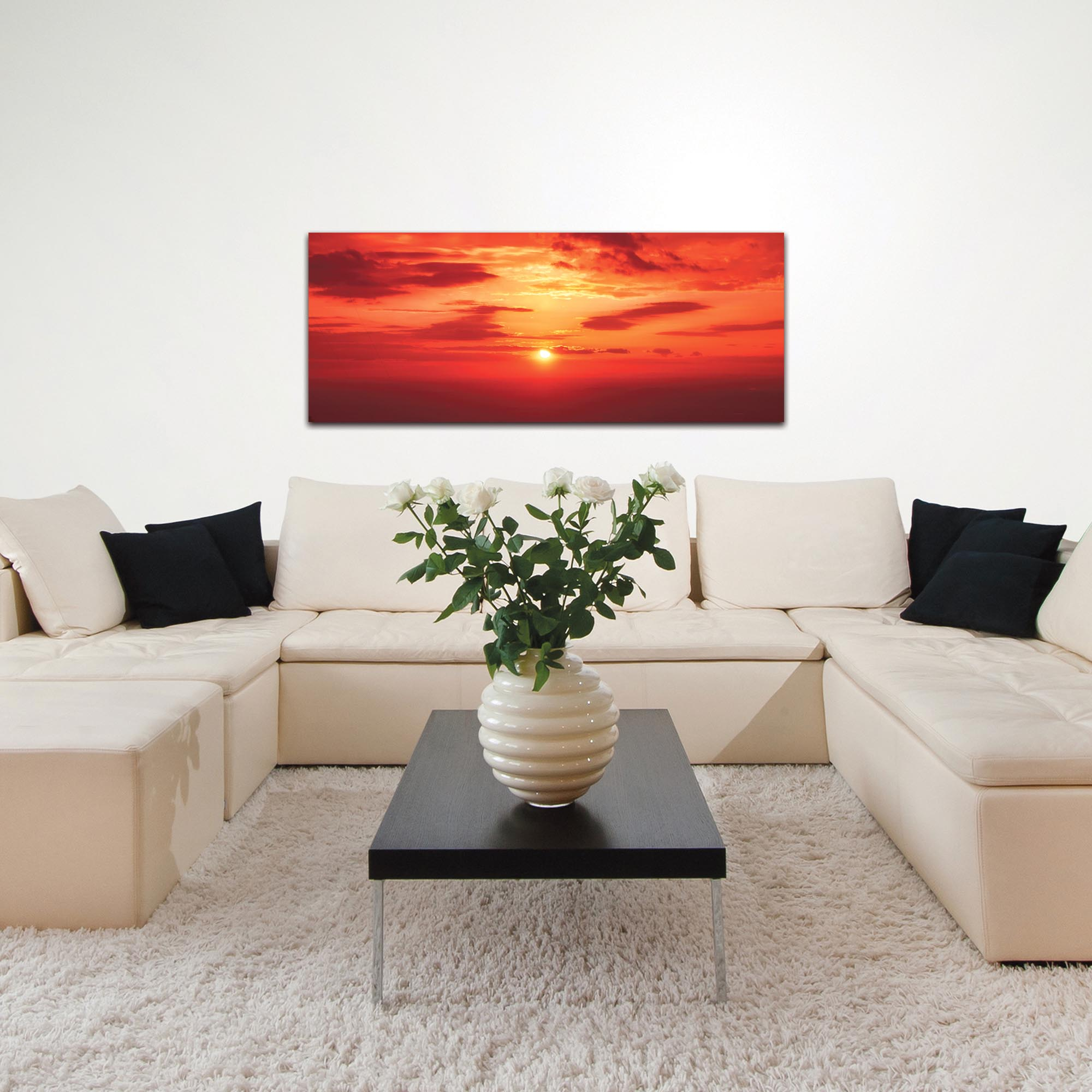 Landscape Photography 'Skies of Flame' - Sunset Art on Metal or Plexiglass - Lifestyle View