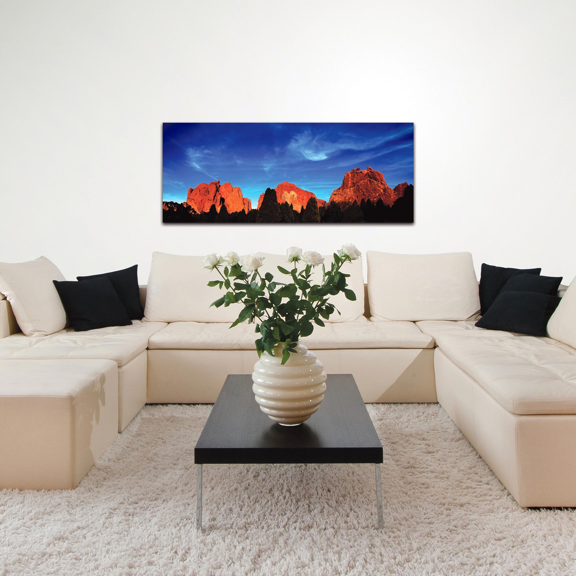 Landscape Photography 'Rocky Towers' - Desert Mountains Art on Metal or Plexiglass - Lifestyle View