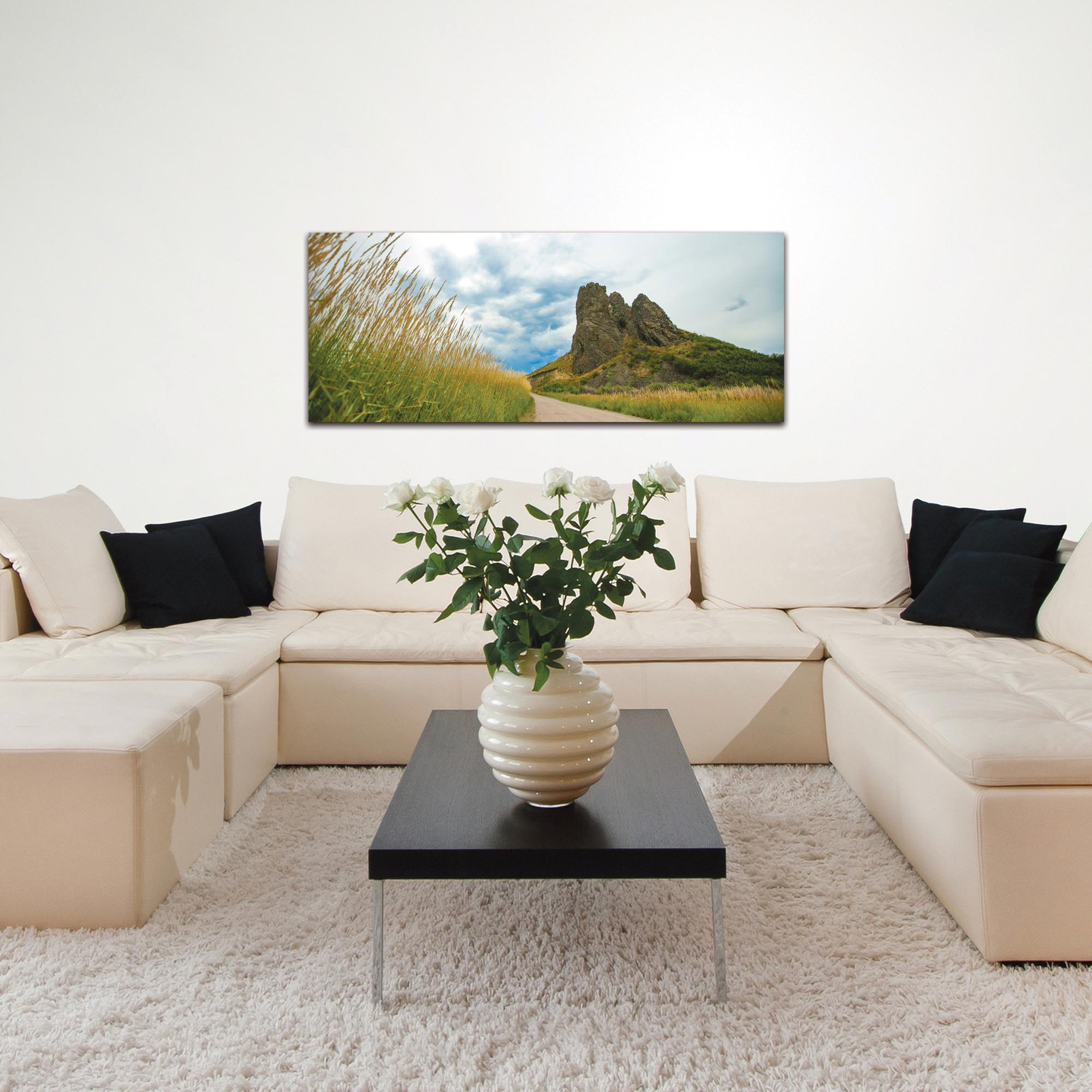 Landscape Photography 'Around the Bend' - Winding Road Art on Metal or Plexiglass - Lifestyle View