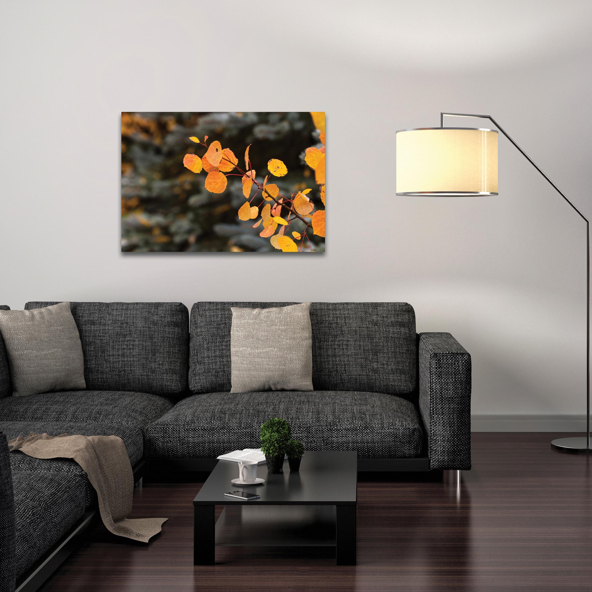 Nature Photography 'Autumn Branch' - Autumn Leaves Art on Metal or Plexiglass - Lifestyle View