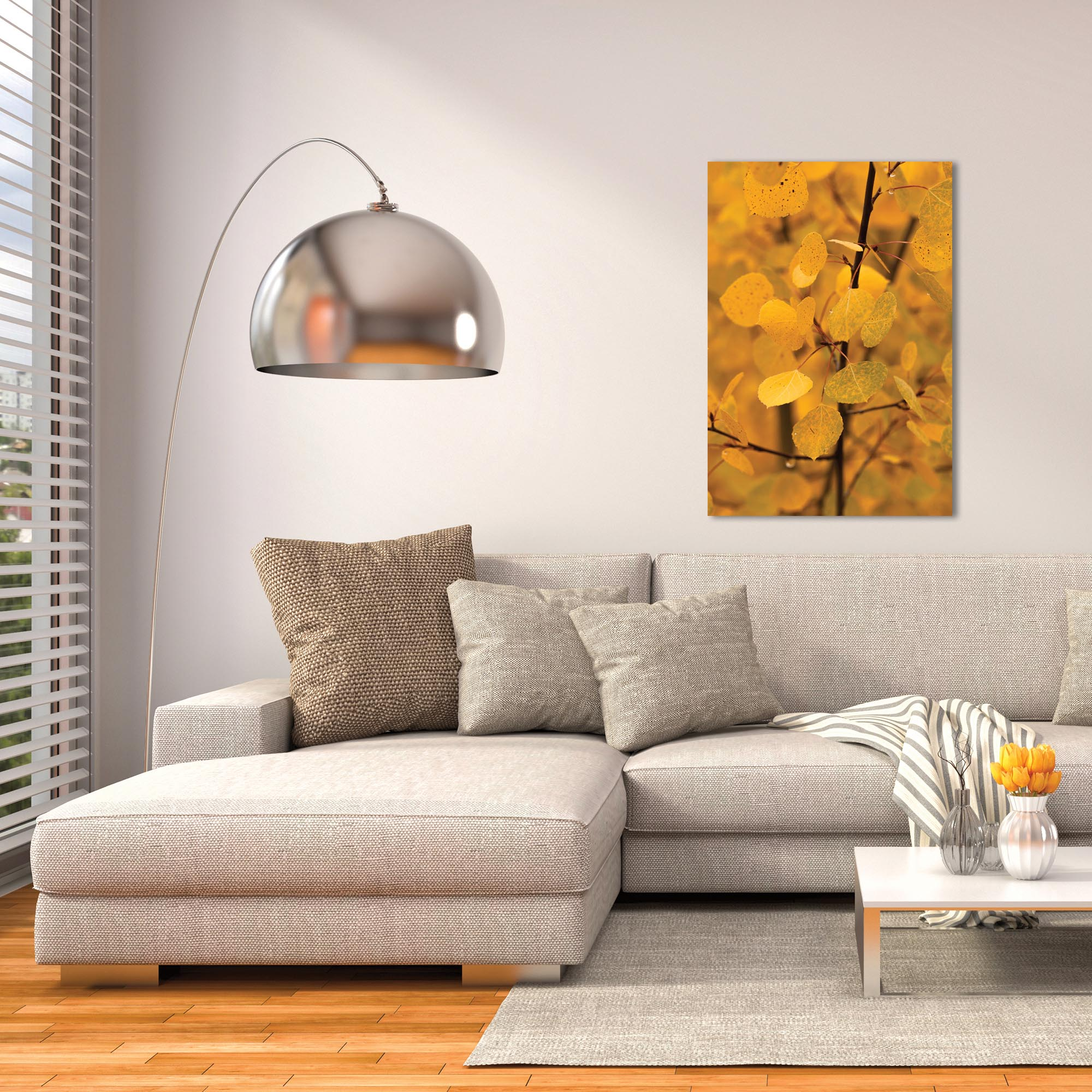 Nature Photography 'Turn to Gold' - Autumn Leaves Art on Metal or Plexiglass - Lifestyle View