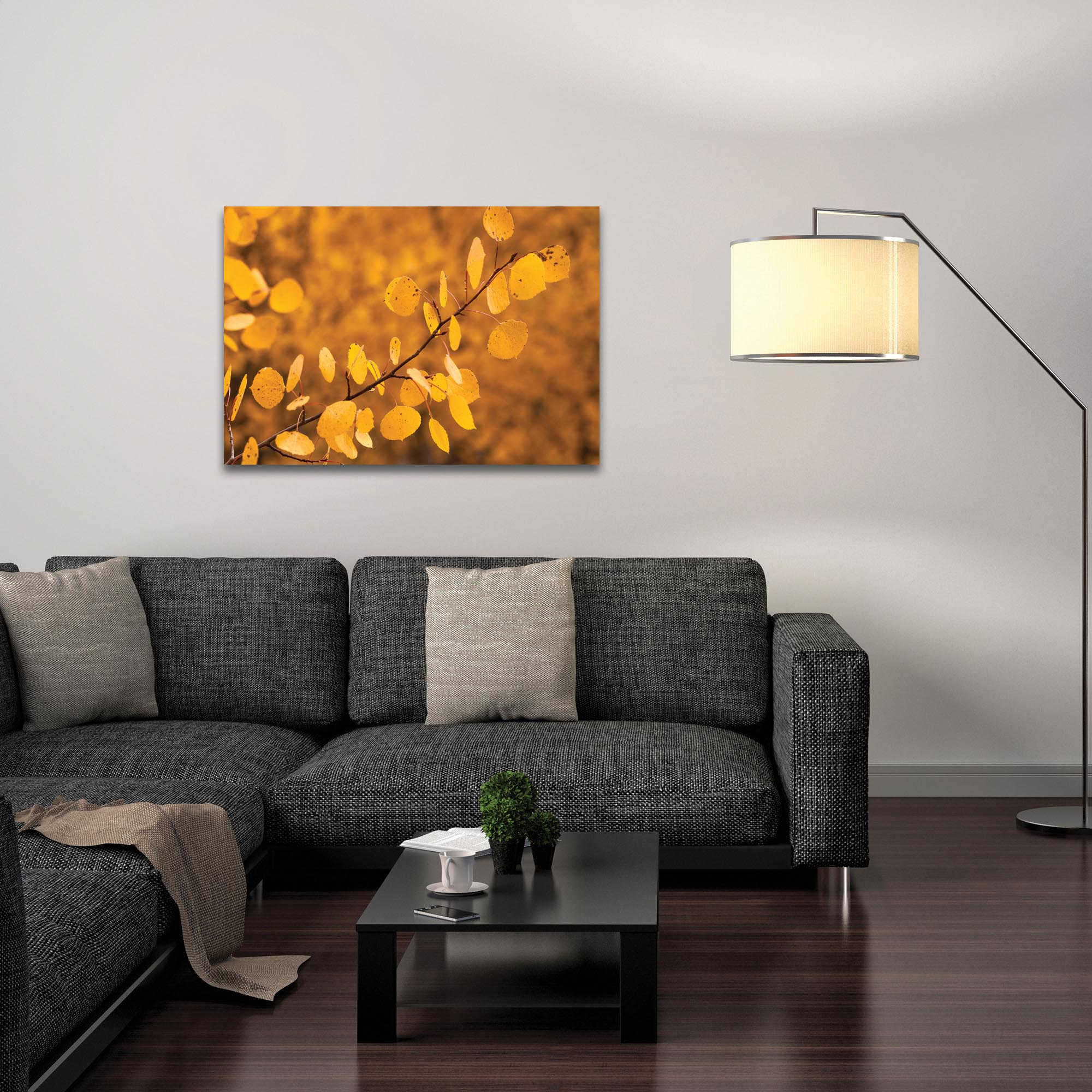 Nature Photography 'Yellow Leaves' - Autumn Leaves Art on Metal or Plexiglass - Lifestyle View